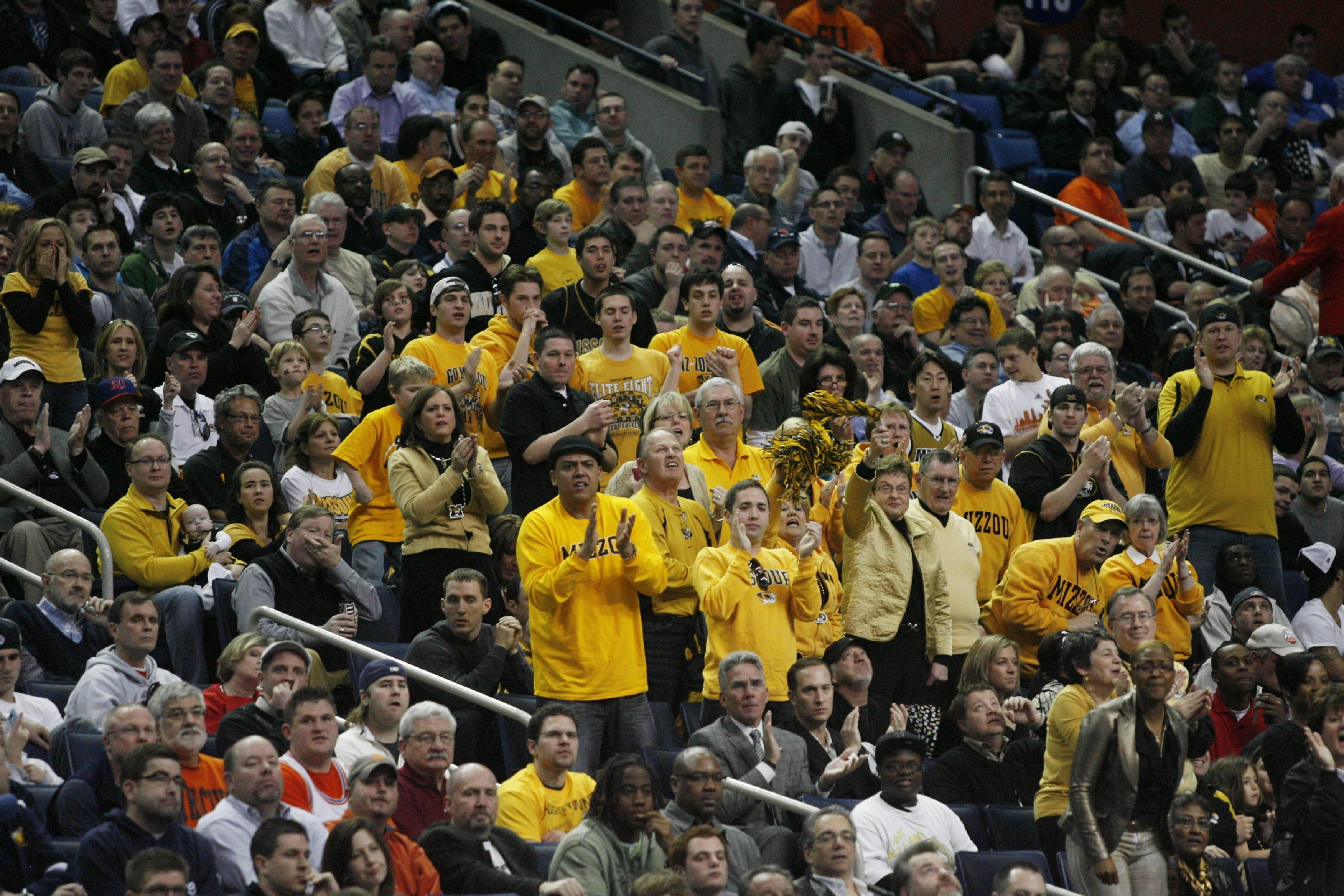 Missouri fans cheer on their team during the NCAA tournament in Buffalo on March 19, 2010.