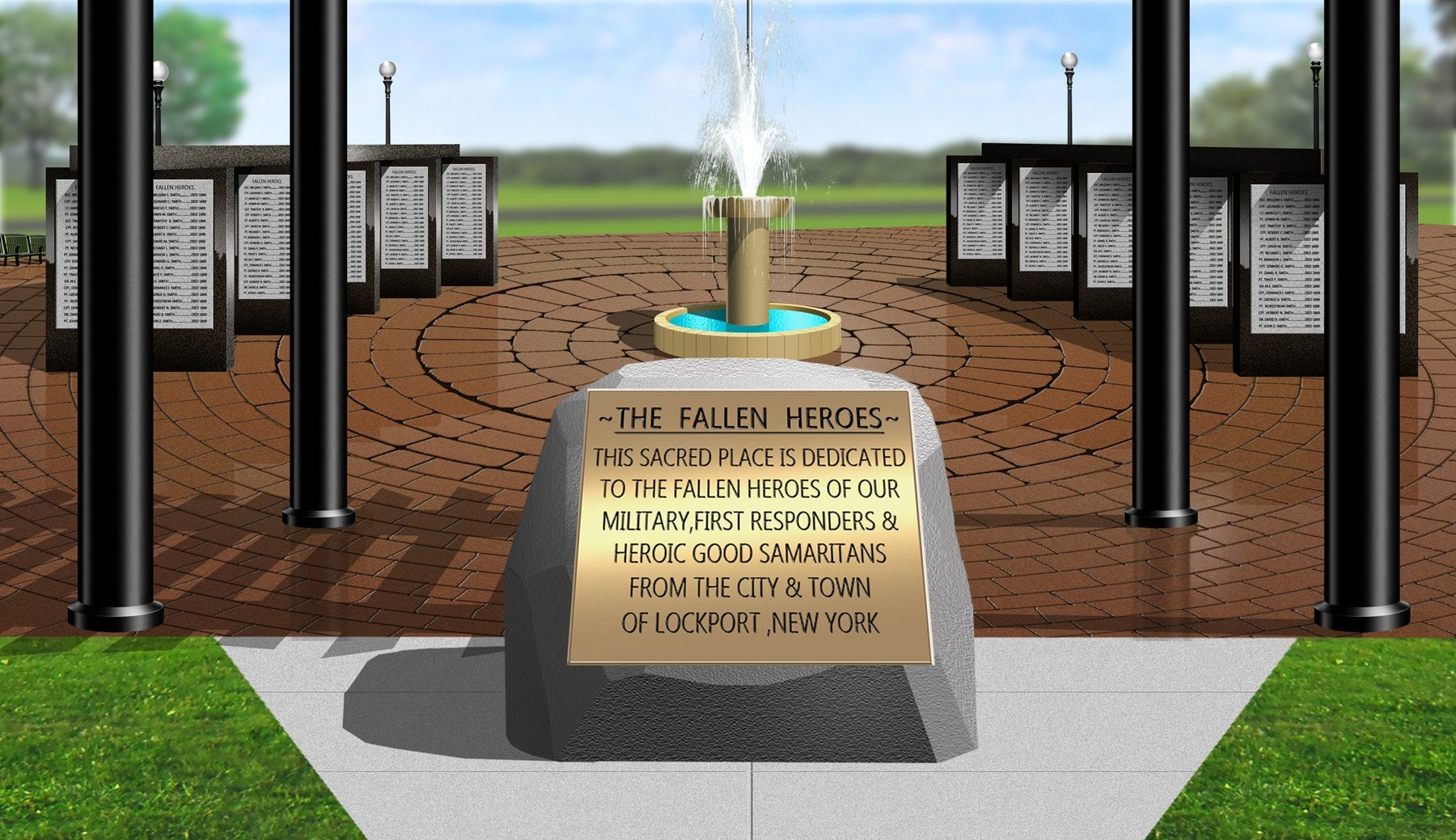 This is a rendering of the planned Fallen Heroes Memorial in Lockport's Outwater Park. It would cost an estimated $350,000.
