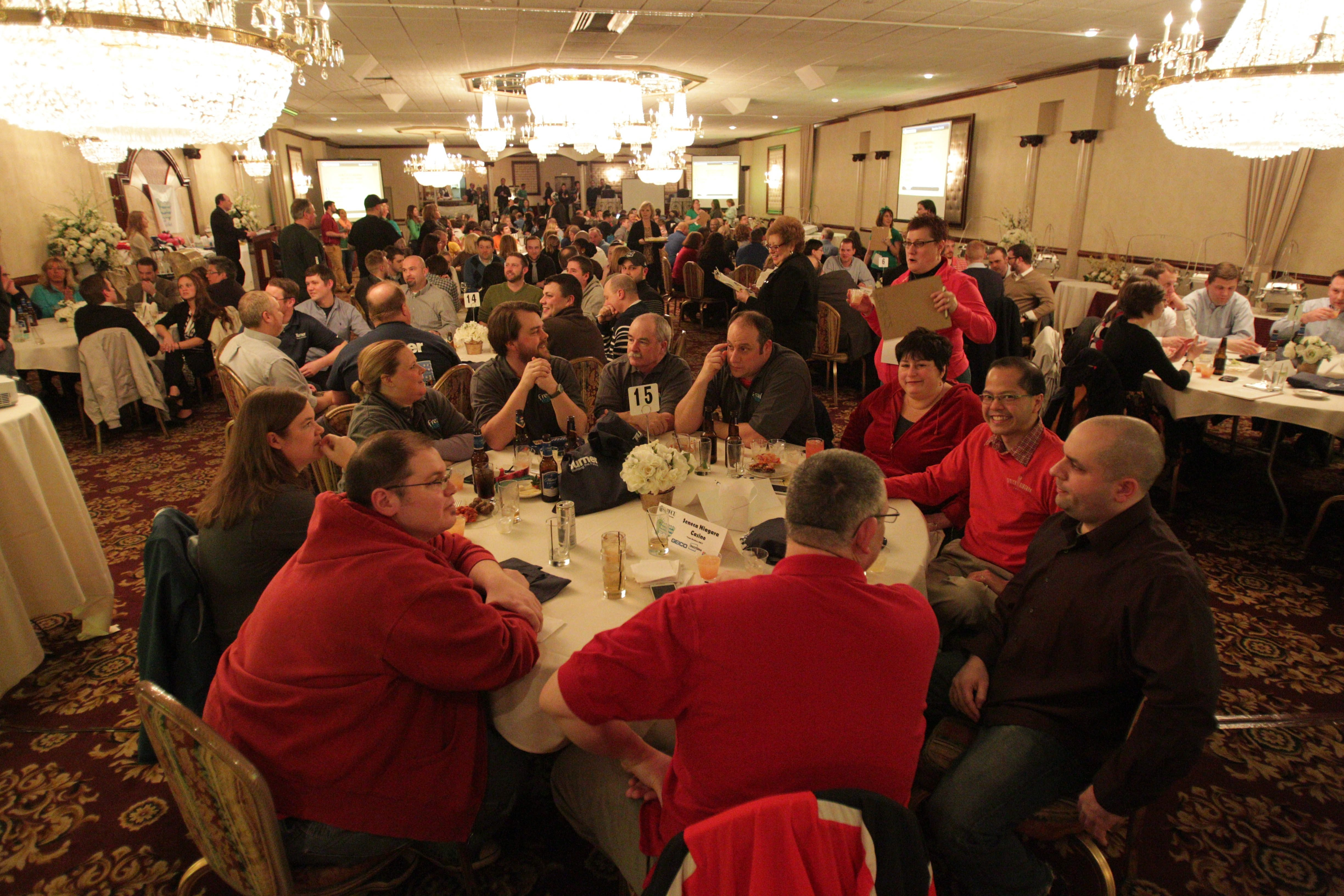Competitors hunker down Friday at Salvatore's Italian Gardens during Buffalo's Biggest Trivia Competition.