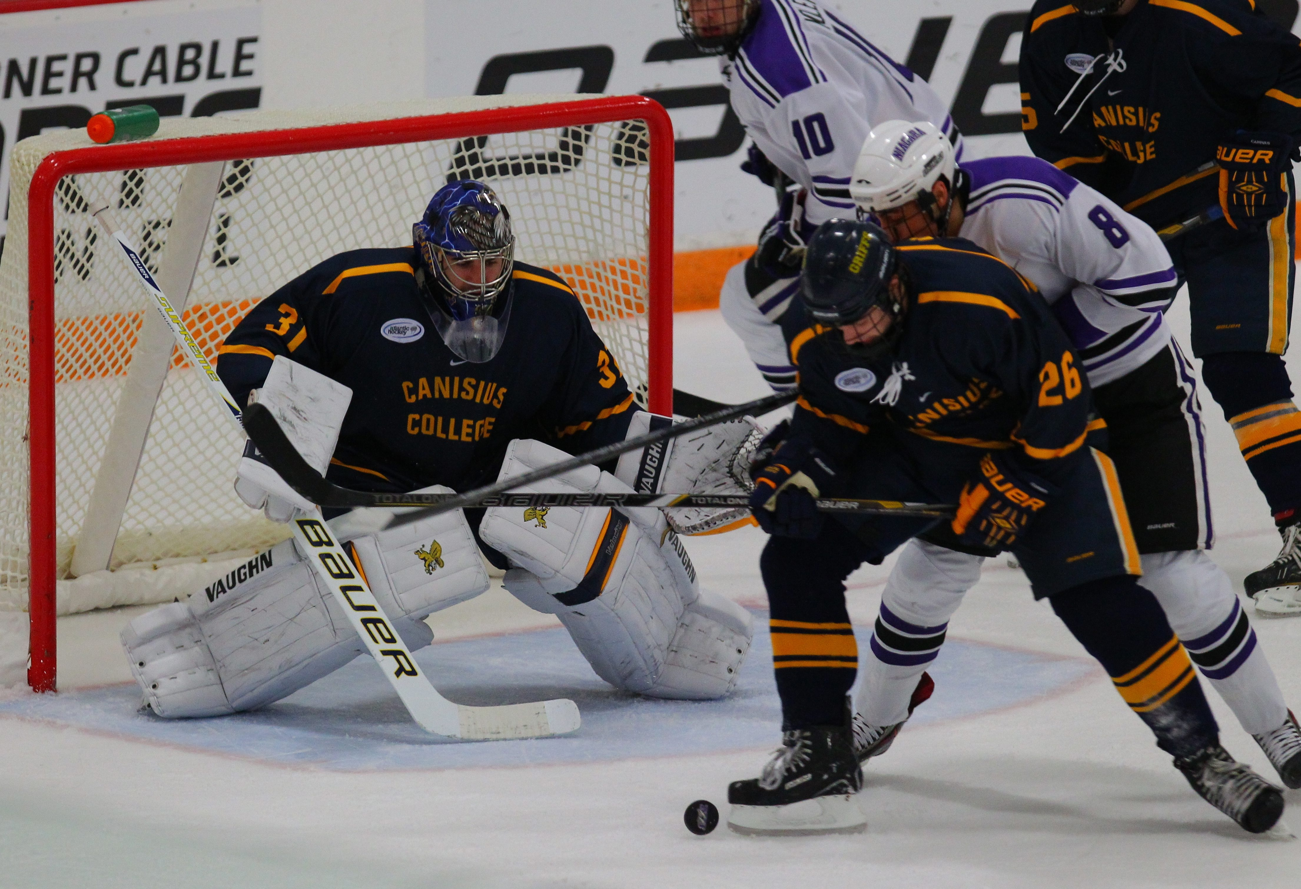 Senior goaltender Tony Capobianco takes an 8-0-0 playoff record into this weekend's series at Bentley.  owns several school records for Canisius College.
