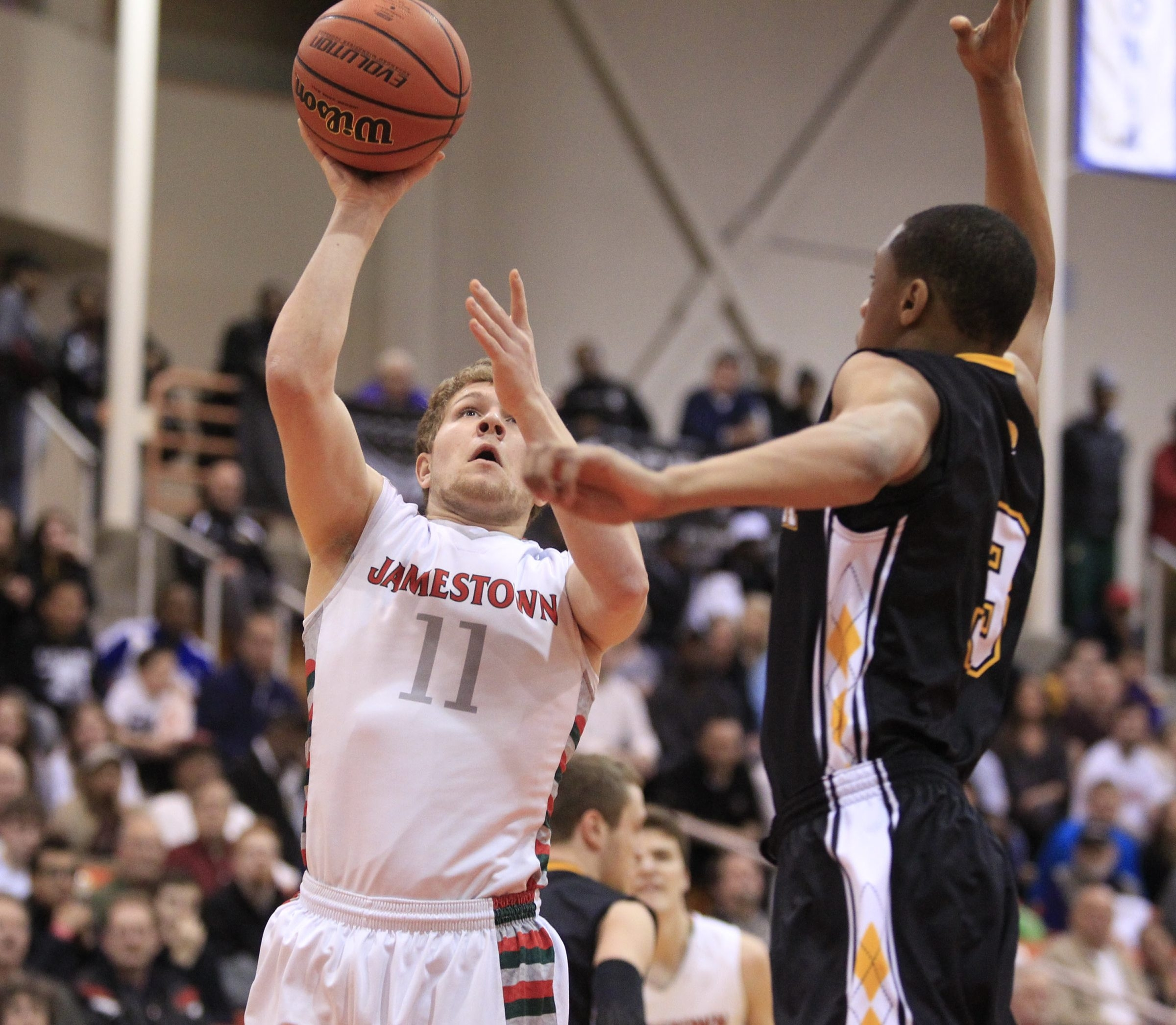 Jamestown junior guard Zack Panebianco was a clutch performer in the Red Raiders' upset of Green-Athena in the Class AA regionals.