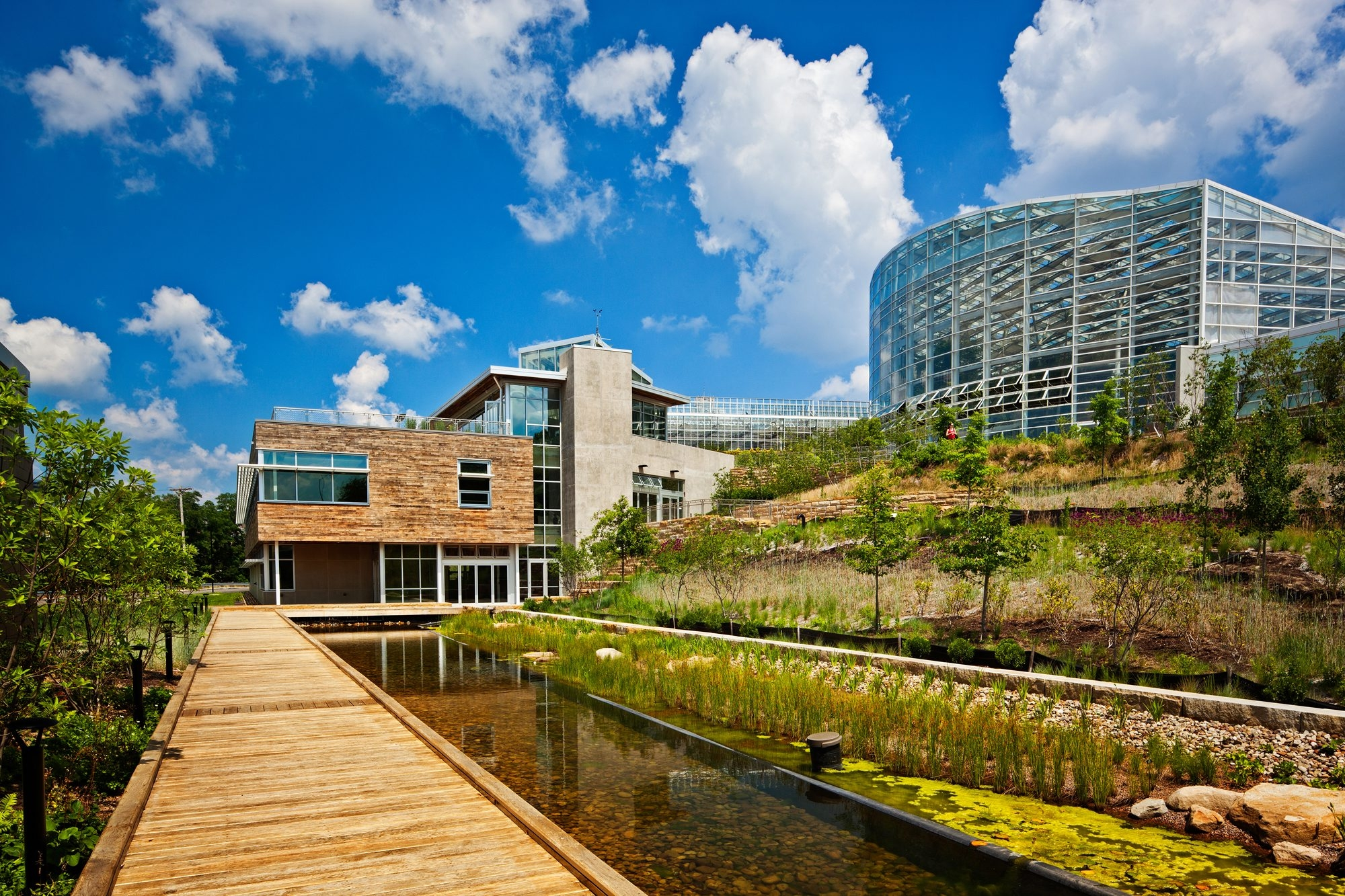 The Center for Sustainable Landscapes at the Phipps Conservatory and Botanical Gardens has a rooftop garden where all the food is grown for its restaurant Bloom.