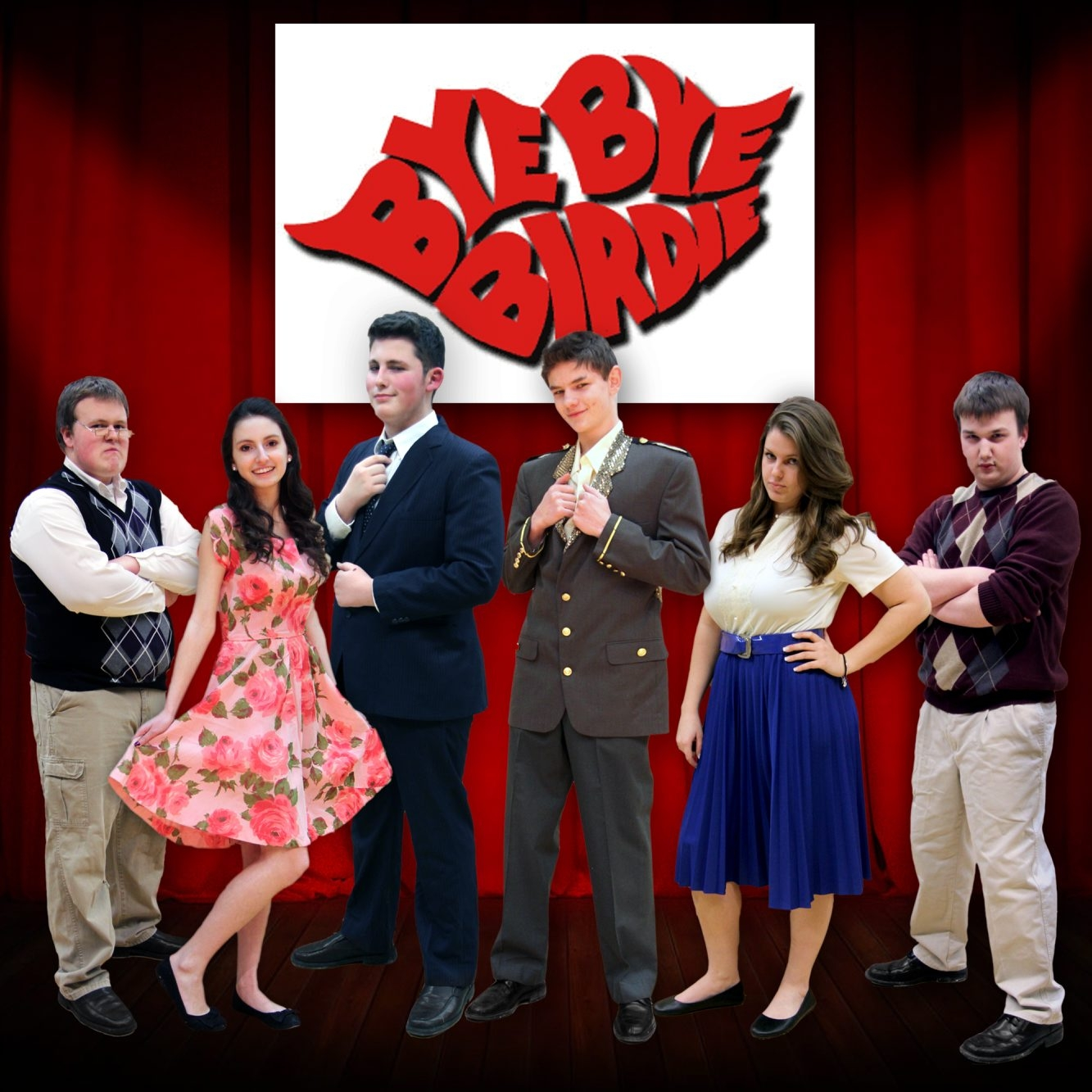 """Holland High School, 103 Canada St., Holland, will present """"Bye Bye Birdie"""" at 7:30 p.m. Friday and Saturday and 2 p.m. Sunday. Tickets are $8; $6 for Sunday show. Pictured, from left, are Abe Stroka, Madison Hanel, John Steiner, Kolby Reumann, Ashley O'Connor and Wyatt Gilbert."""