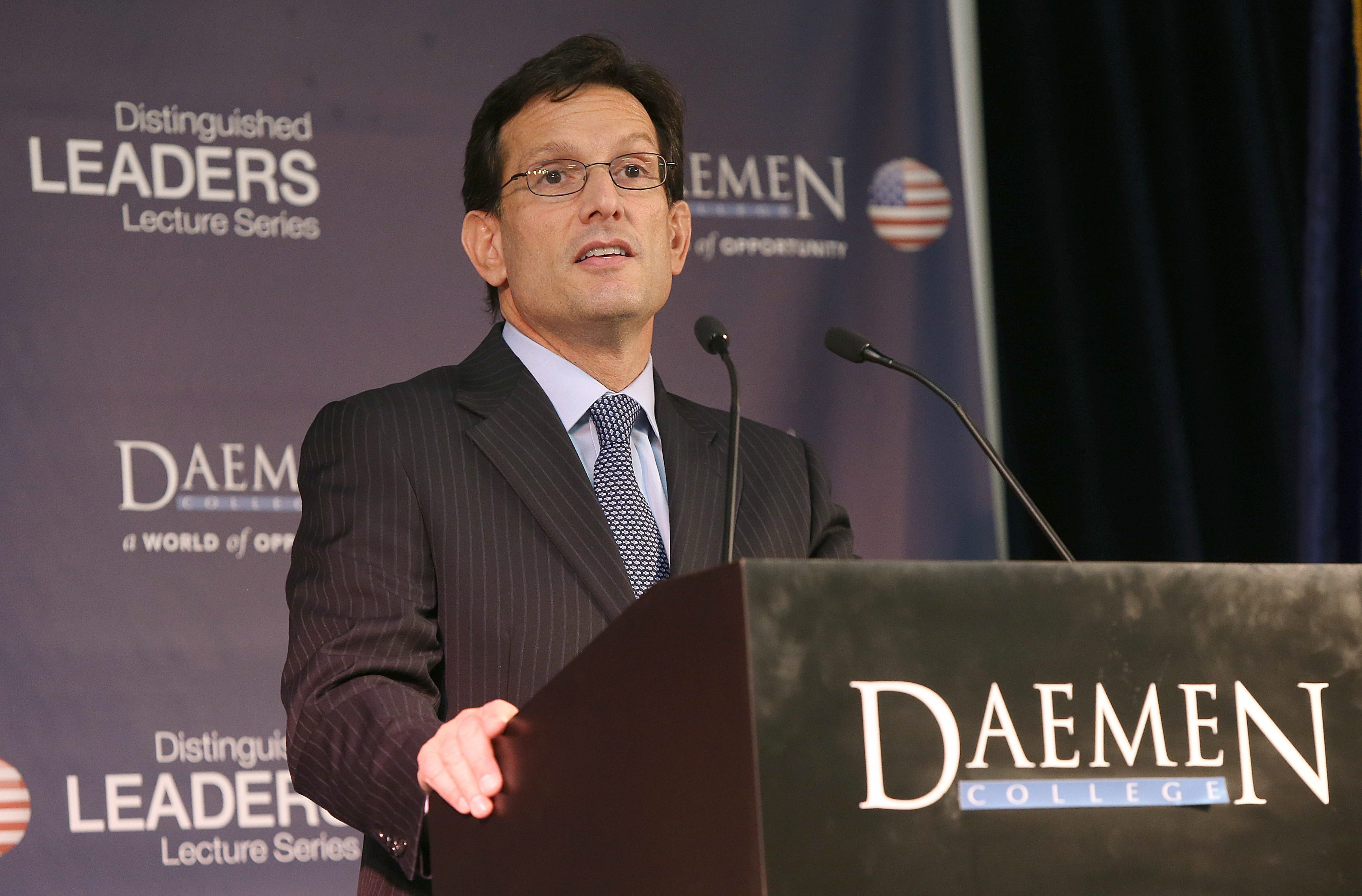 House Majority Leader Eric Cantor, R-Va., speaks in the Wick Center Social Room at Daemen College in Amherst Monday as part of the college's distinguished Leaders Lecture Series.