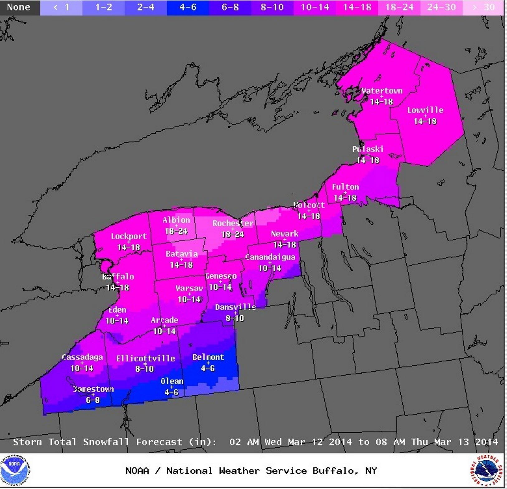 National Weather Service map shows expected snowfall totals from the coming storm.