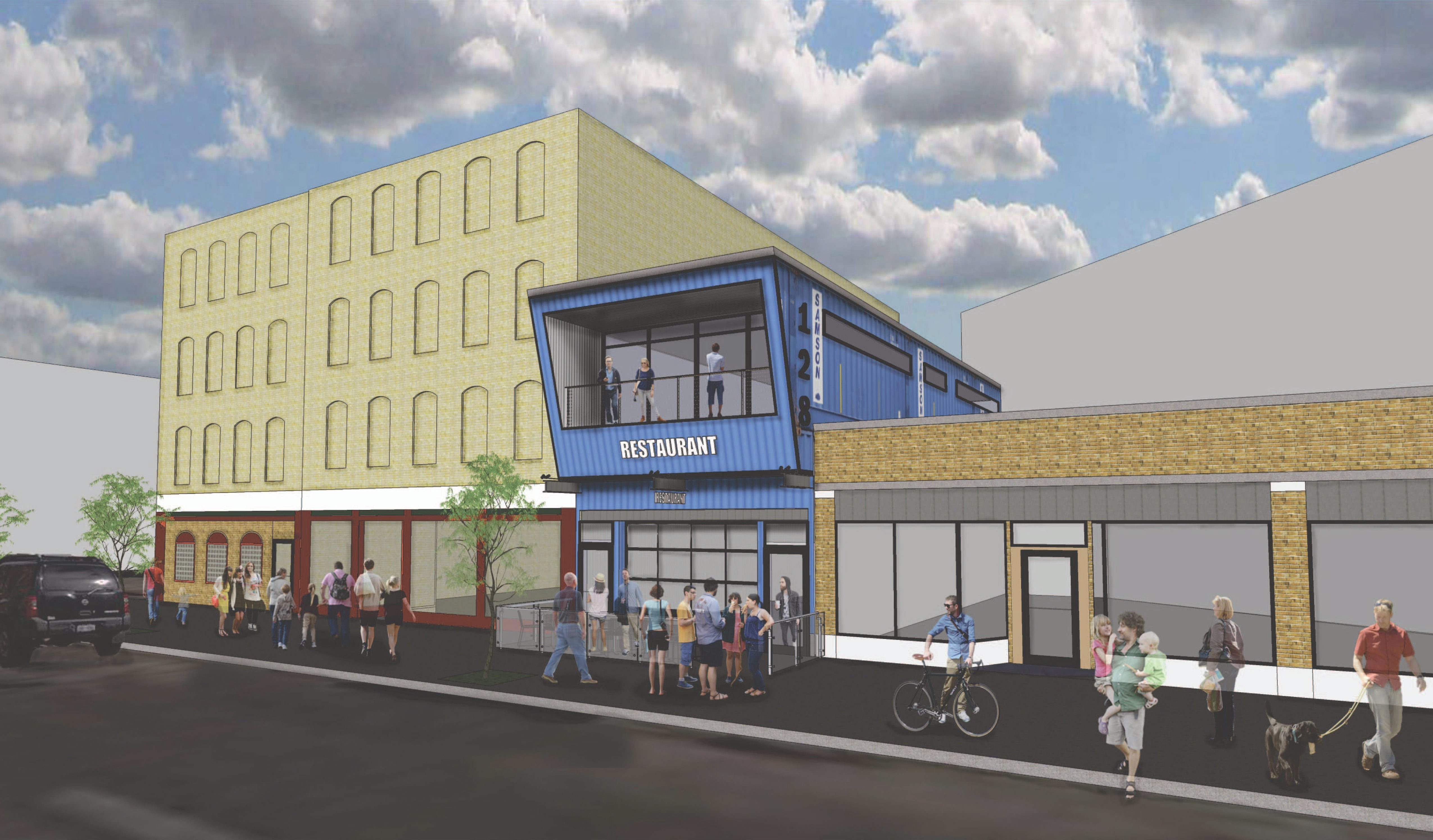 Developer Rocco Termini is proposing a two-story, 3,000-square-foot restaurant, made out of two stacked shipping containers, for 128 Genesee St.