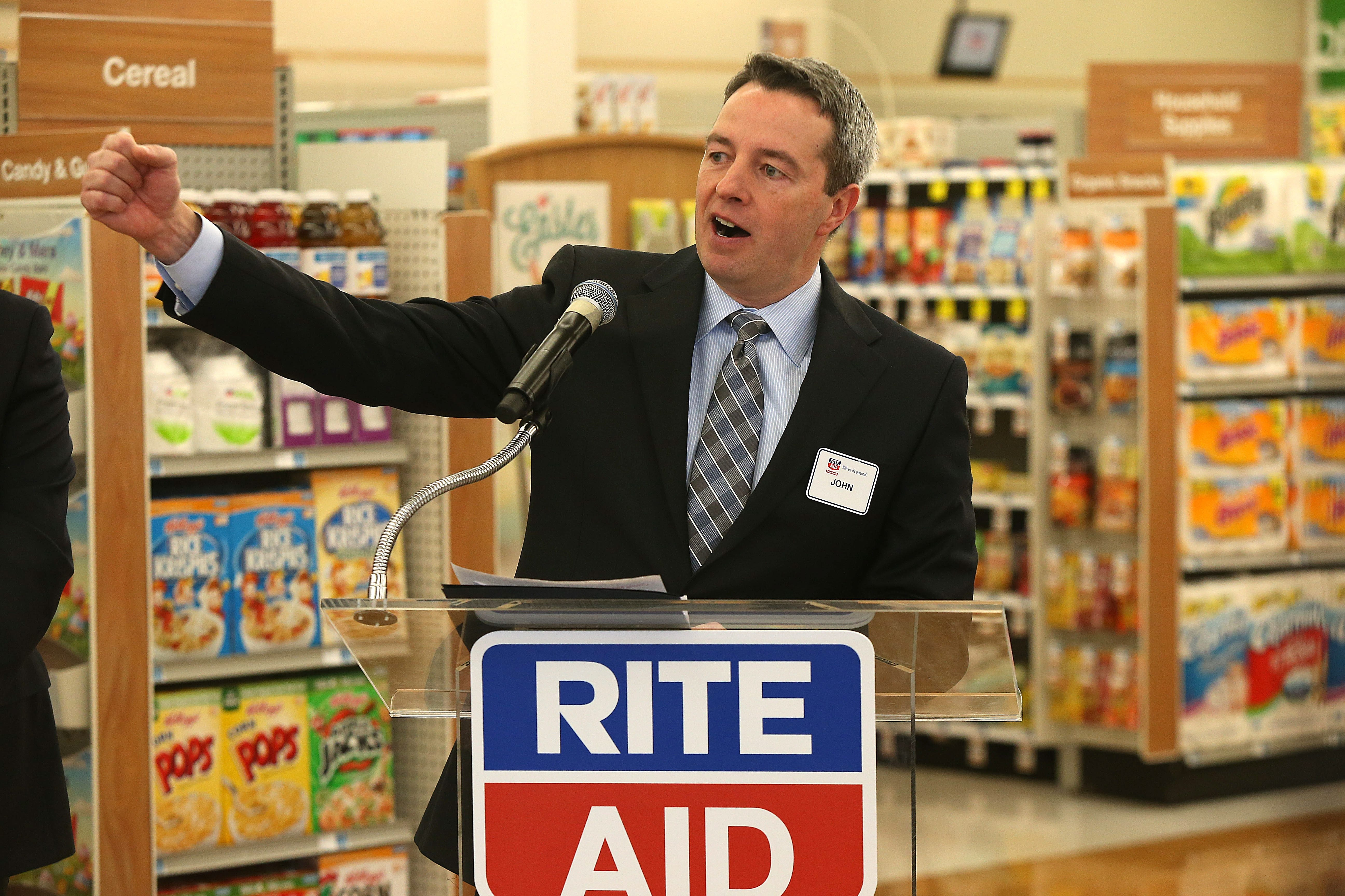 Rite Aid CEO John Standley introduces the Health Alliance program at the Rite Air location on Bailey Avenue in Buffalo on Monday. Buffalo is one of the chain's best markets.