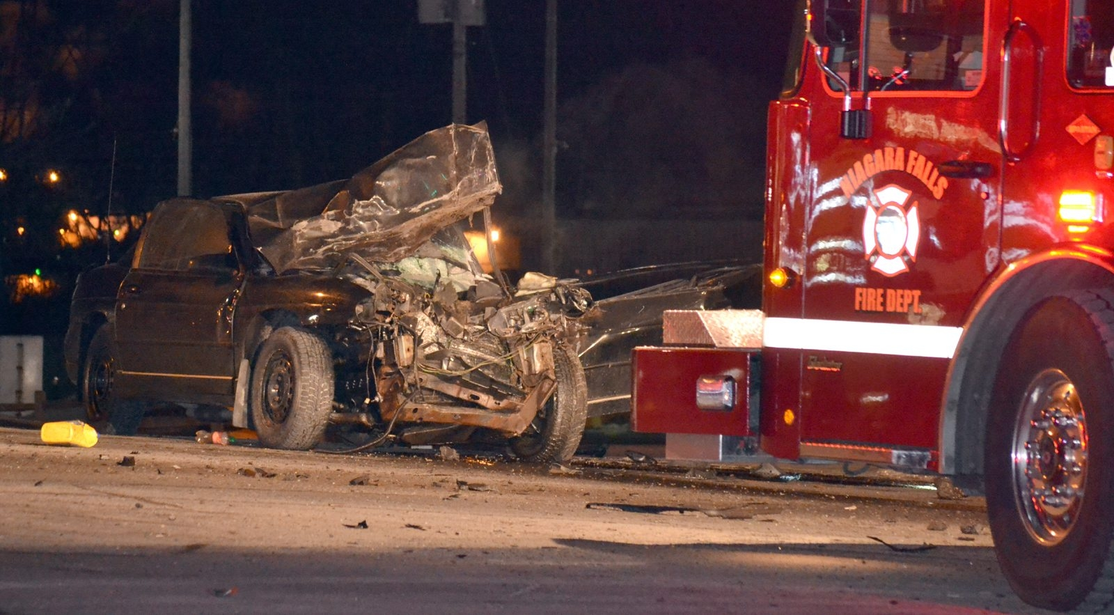 The Monte Carlo driven by Lewis R. Worrells of Niagara Falls was totaled after State Police said it rear-ended another vehicle while Worrells was fleeing police. Worrells died from injuries suffered in the crash.