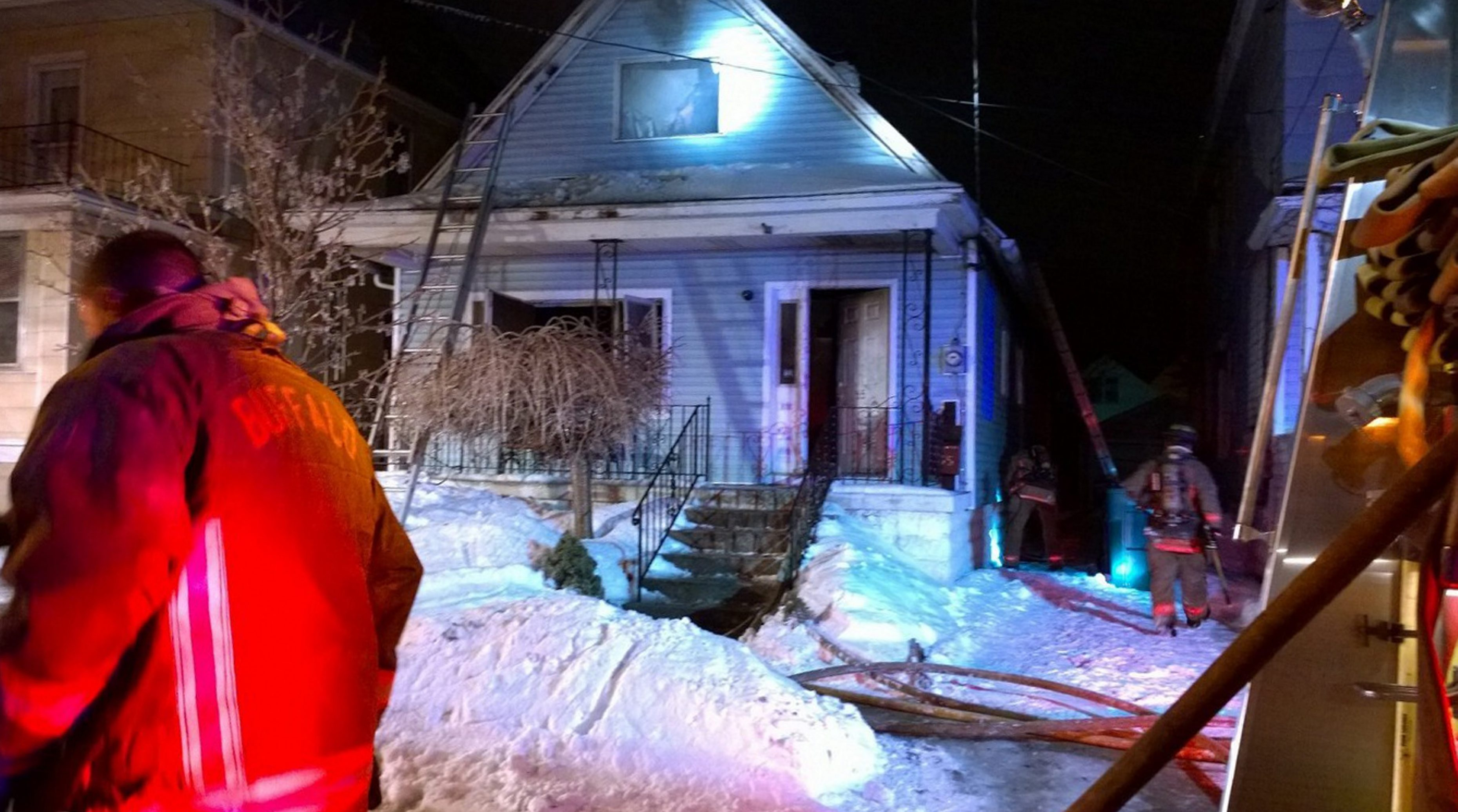This file photo by David Kazmierczak shows the house fire earlier this week at 65 Sirret Street, where a man died.