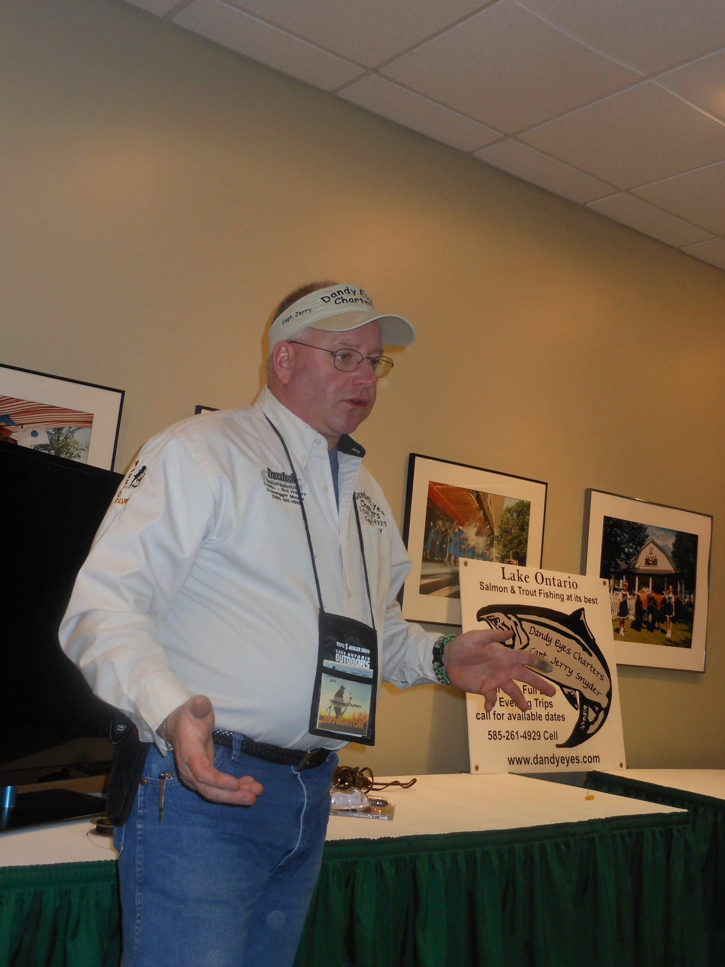 Capt. Jerry Snyder of Dandy Eyes Charters covers the basics and fine points of Lake Ontario salmon and trout trolling during seminars at the WNY Sport and Travel Expo at the Erie County Fairgrounds.