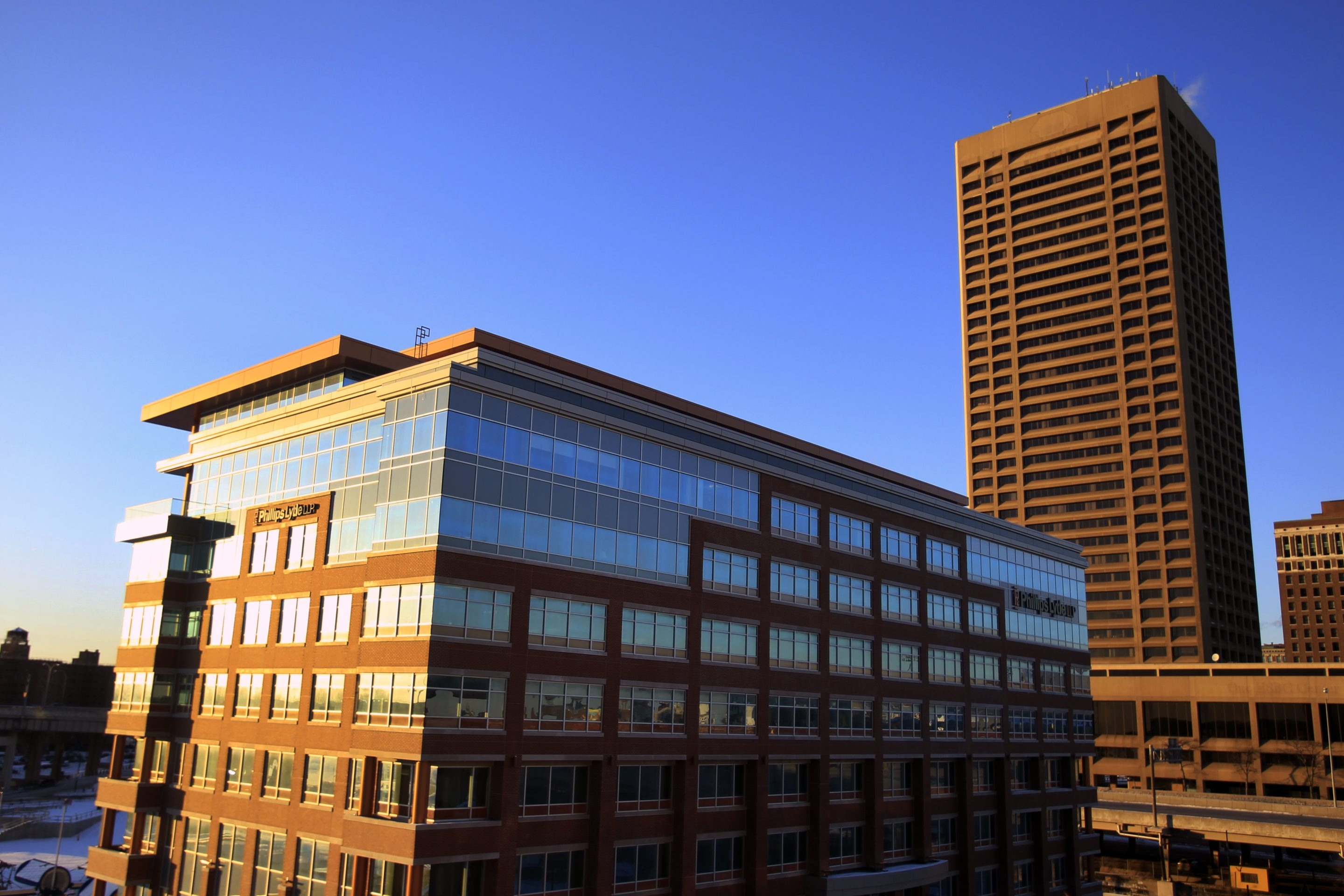 The nearly vacant One Seneca Tower looms over One Canalside.