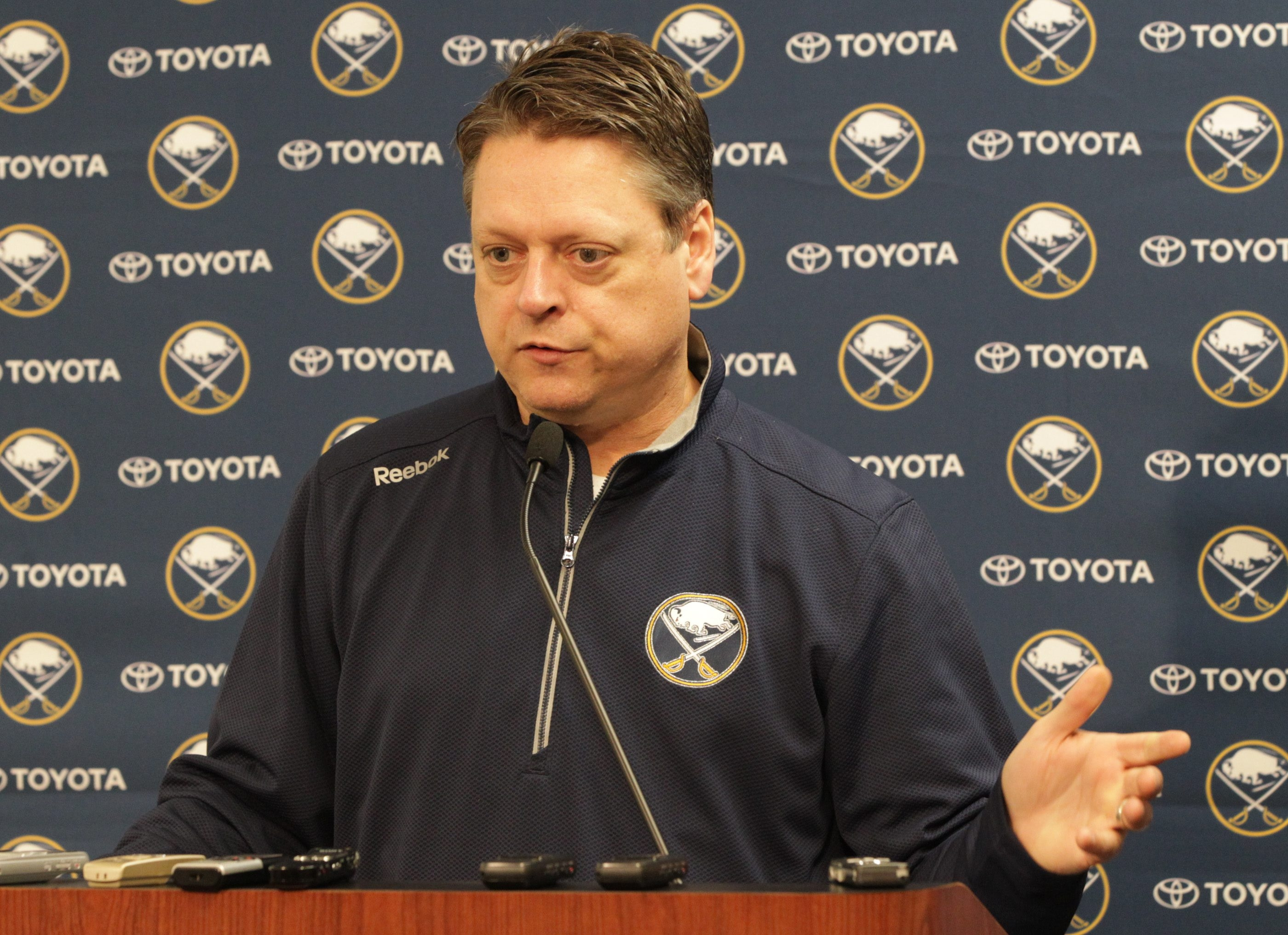 Sabres GM Tim Murray said he is excited about the potential of Hudson Fasching and Michal Neuvirth, among others.