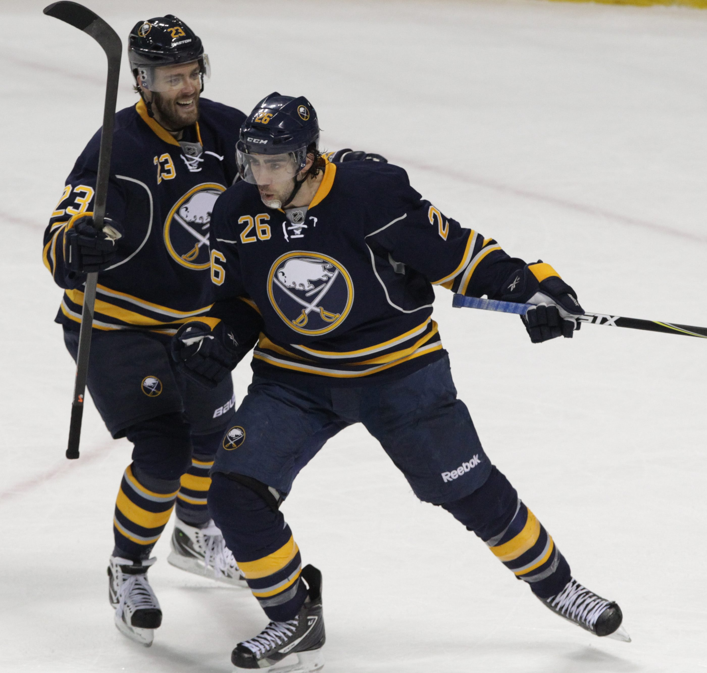 Buffalo Sabres left wing Matt Moulson (26) celebrates after scoring a goal against Boston Bruins goalie Chad Johnson (30) at First Niagara Center in Buffalo on Feb. 26.