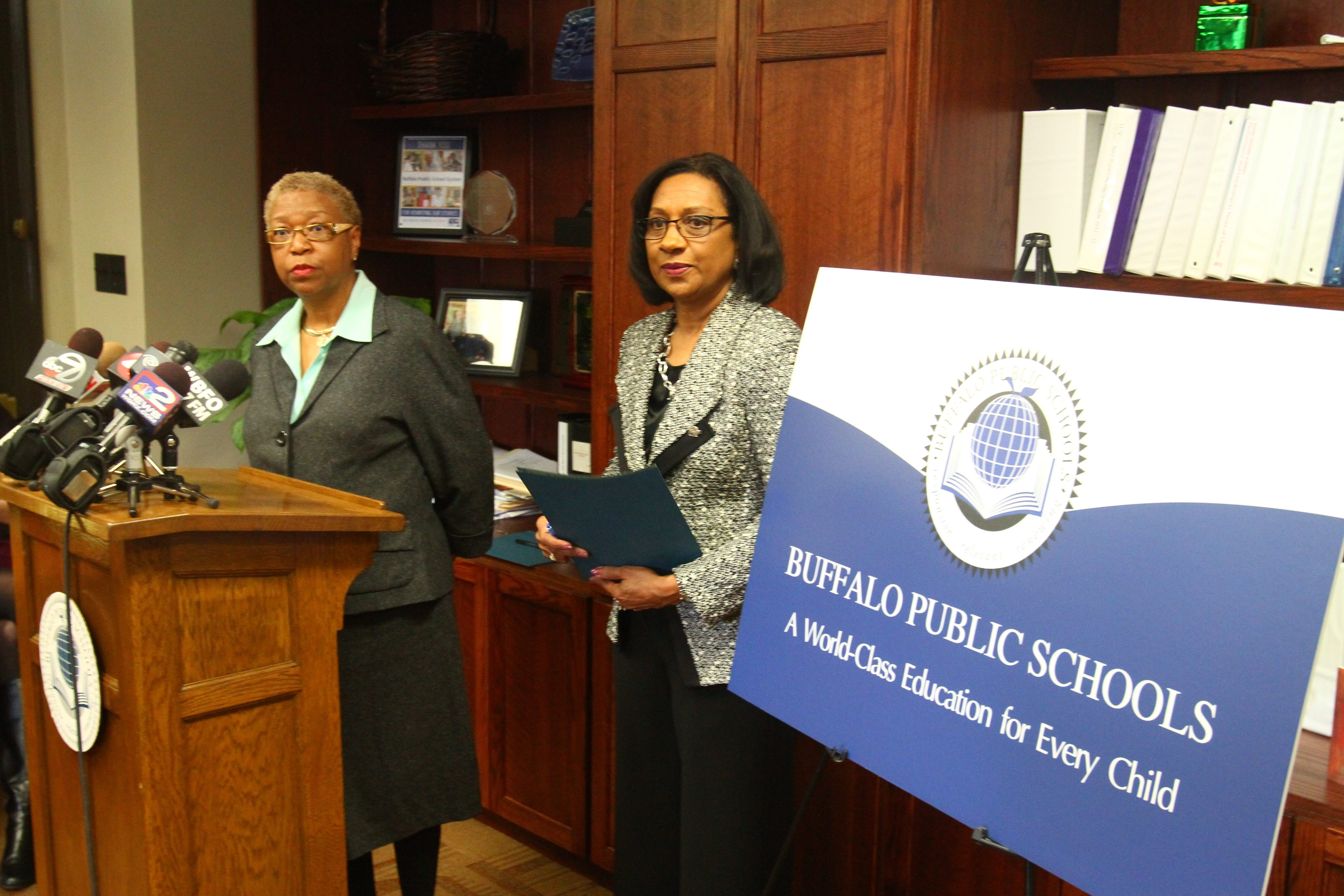 "Mary Guinn, back in the Buffalo schools' Central Office as deputy superintendent, listens to a question at the lectern during a news conference as she is joined by Superintendent Pamela Brown, who aims to ""get out in the community more"" and promote her strategy."