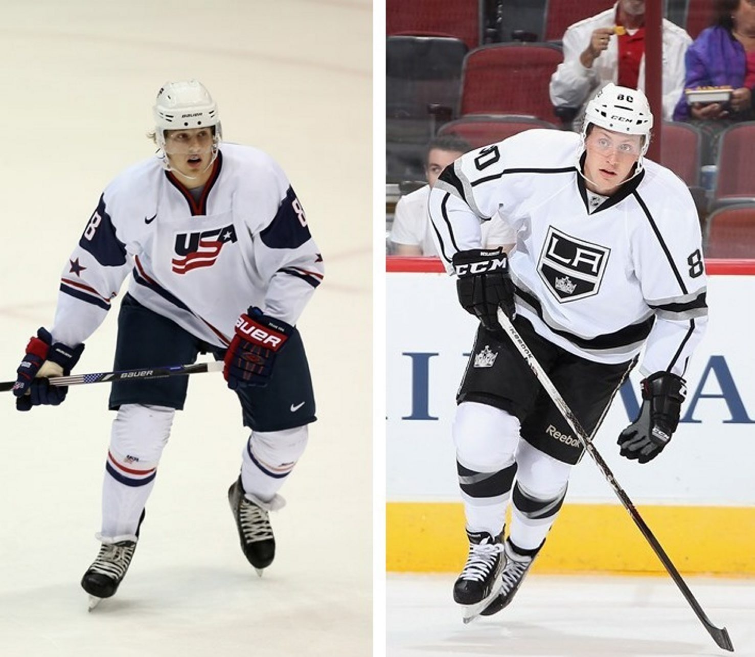 The Sabres have acquired Hudson Fasching, left, and Nicolas Deslauriers from the L.A. Kings. (Getty Images)