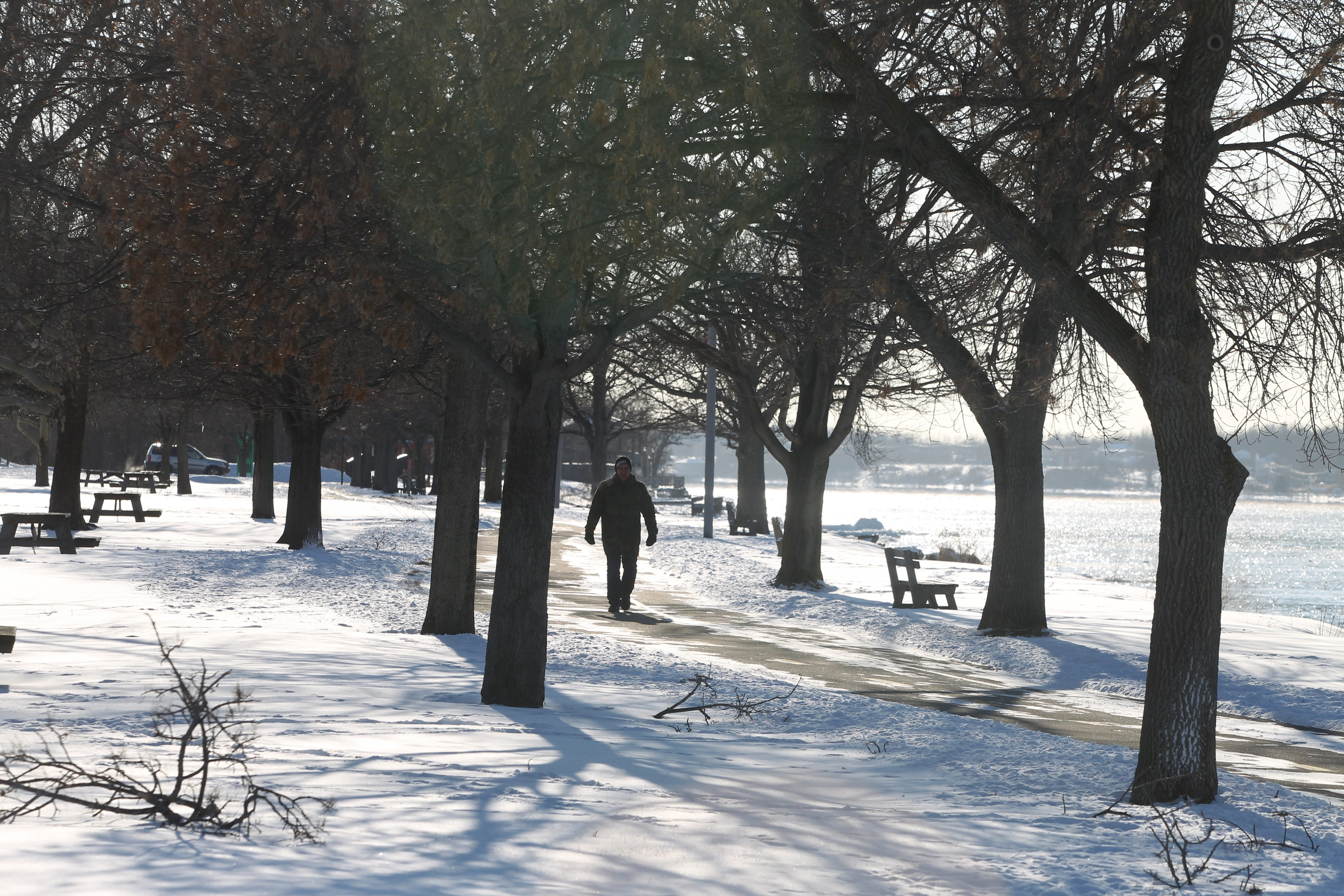 Dan Sentz of the City of Tonawanda was out for an afternoon walk at Niawanda Park Monday when the temperature was 9 degrees.