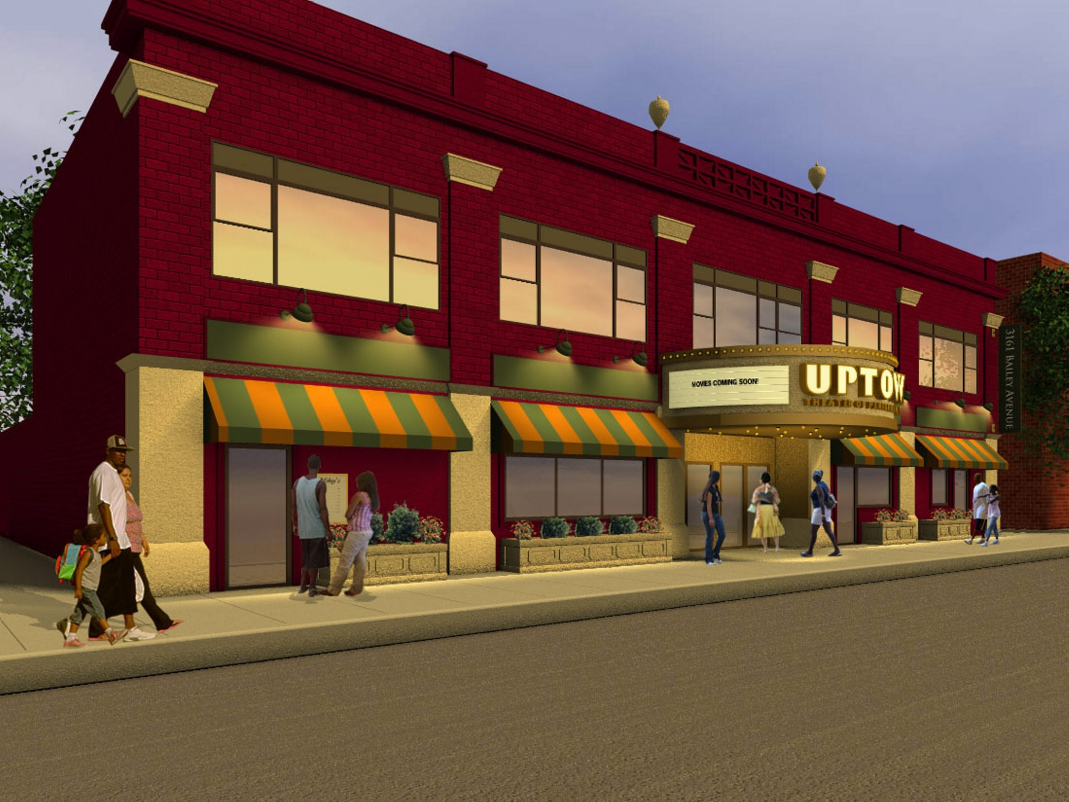 An artist's rendering depicts what the Uptown Theater will look like after renovations are complete. The Bailey Avenue facility has received a $150,000 grant from the state.