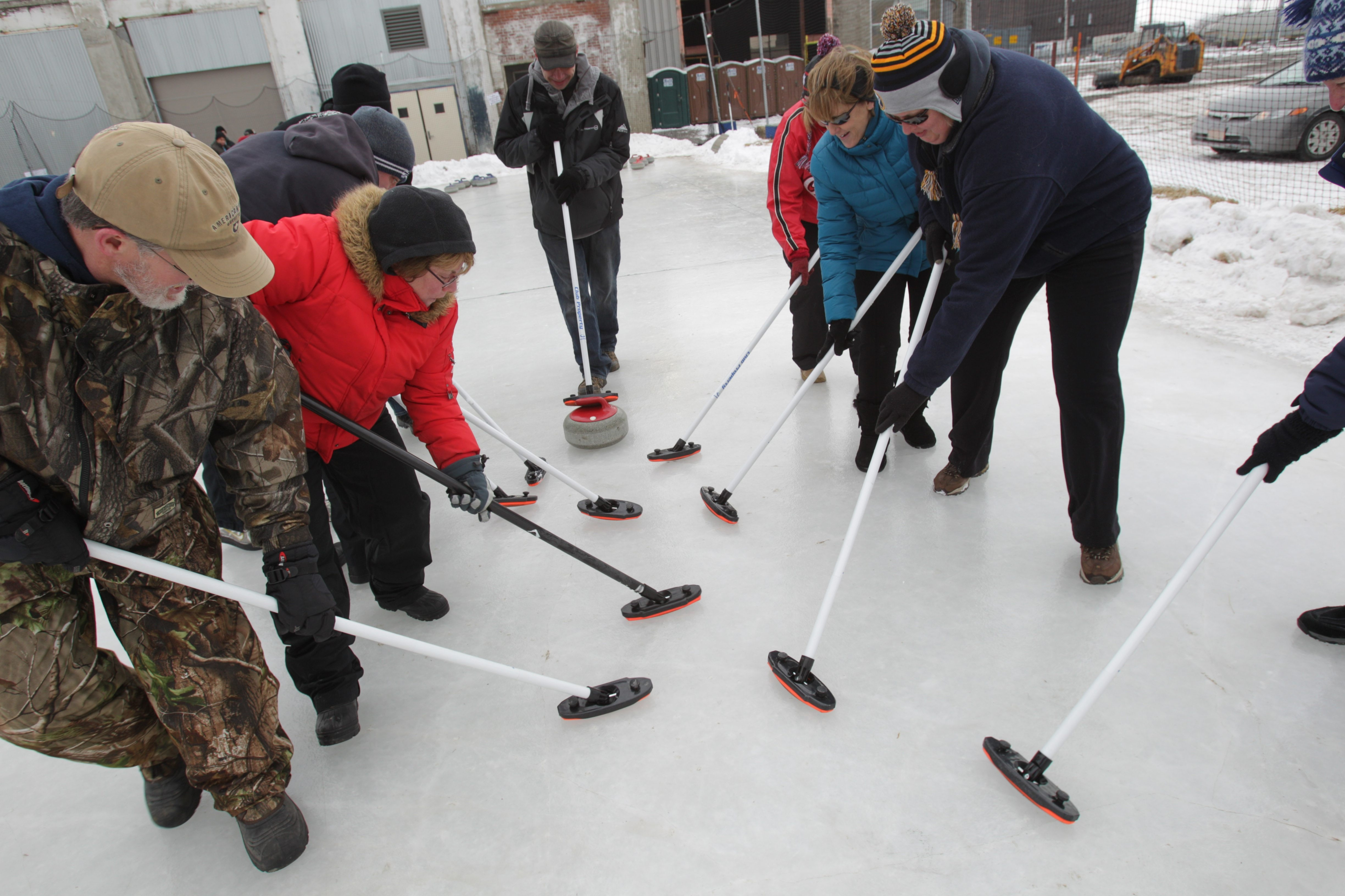 "Dozens of people came out to experience the sport of curling as the Buffalo Curling Club offered two-hour ""Learn to Curl"" sessions at RiverWorks on Saturday. The event also runs today."