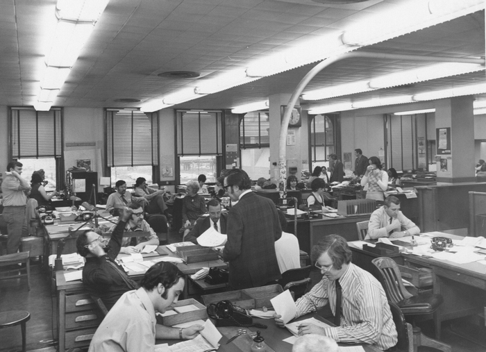 The newsroom of The Buffalo Evening News around 1970 when it was located on Seneca Street, before moving to its present site in 1973. (Buffalo News file photo)