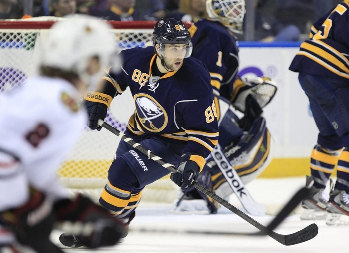 Cory Conacher chose No. 88 and found himself paired with Tyler Ennis, his favorite player while at Canisius College. (Harry Scull Jr./Buffalo News)