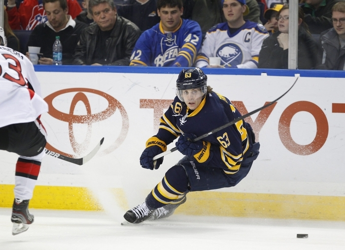 Sabres' Tyler Ennis is on the road in Edmonton, while Tyler Ennis of Syracuse is in Buffalo. (Harry Scull Jr./Buffalo News)