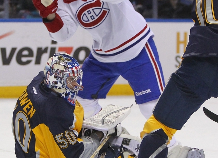 British Columbia native Nathan Lieuwen will start in goal for the Sabres in Vancouver tonight. (Mark Mulville/Buffalo News)