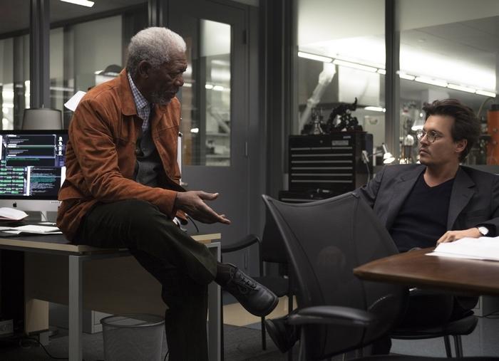 """Morgan Freeman, left, and Johnny Depp star in """"Transcendence."""""""