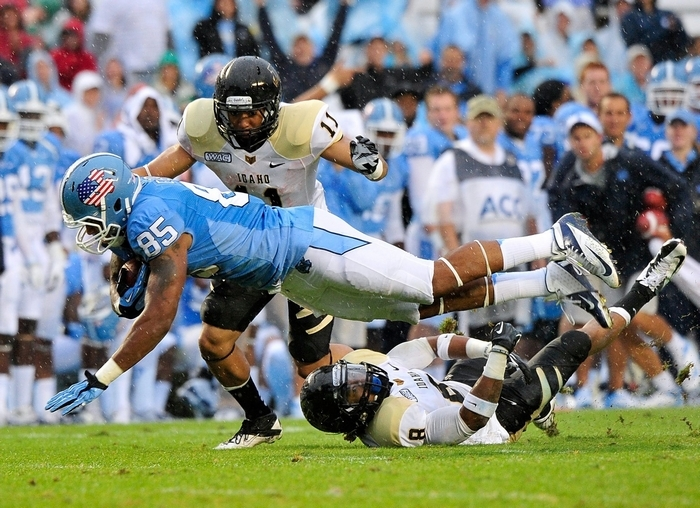 North Carolina tight end Eric Ebron, catching a pass against Idaho in 2012, has drawn comparisons to Vernon Davis of the San Francisco 49ers.
