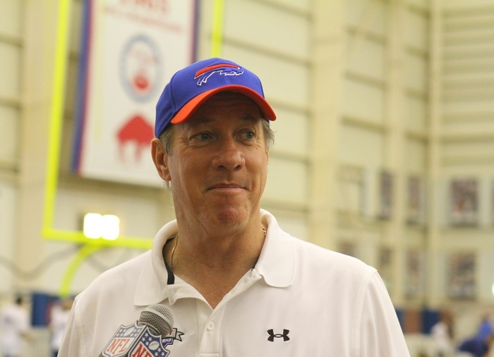 Jim Kelly speaks to the media at Ralph Wilson Fieldhouse in Orchard Park, June 24, 2013.  (John Hickey/Buffalo News file photo)
