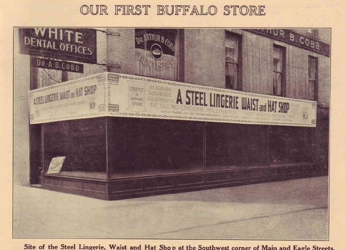 The Steel Lingerie Waist and Hat Shop at Main and Eagle was one of the House of Steel retail outlets in Buffalo.