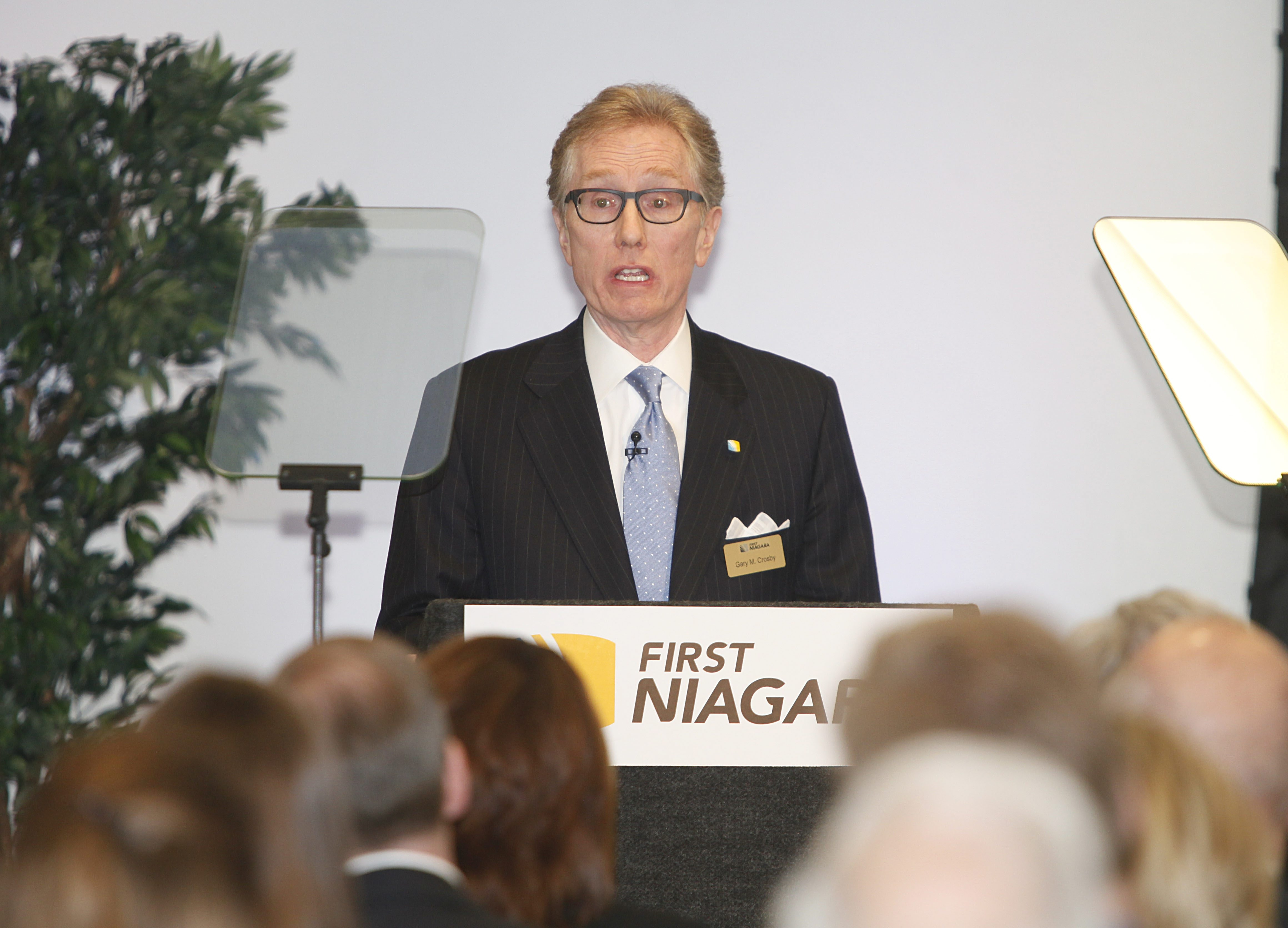 First Niagara CEO Gary Crosby addresses shareholders at its annual meeting Wednesday.