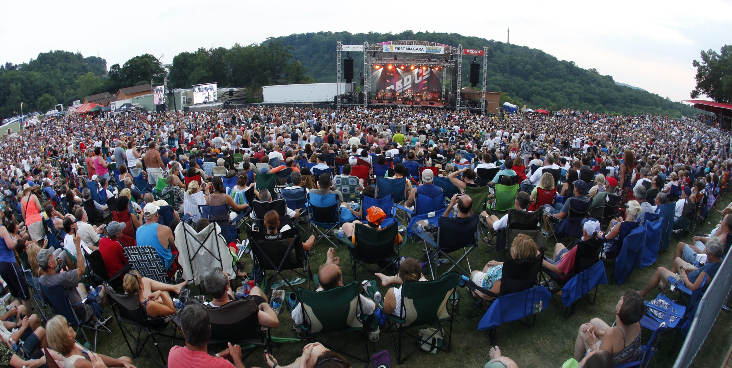 A huge crowd turned out for the Bad Company concert at Artpark last summer. Town Supervisor Dennis Brochey opposes town funding for extra police services required during the concerts.