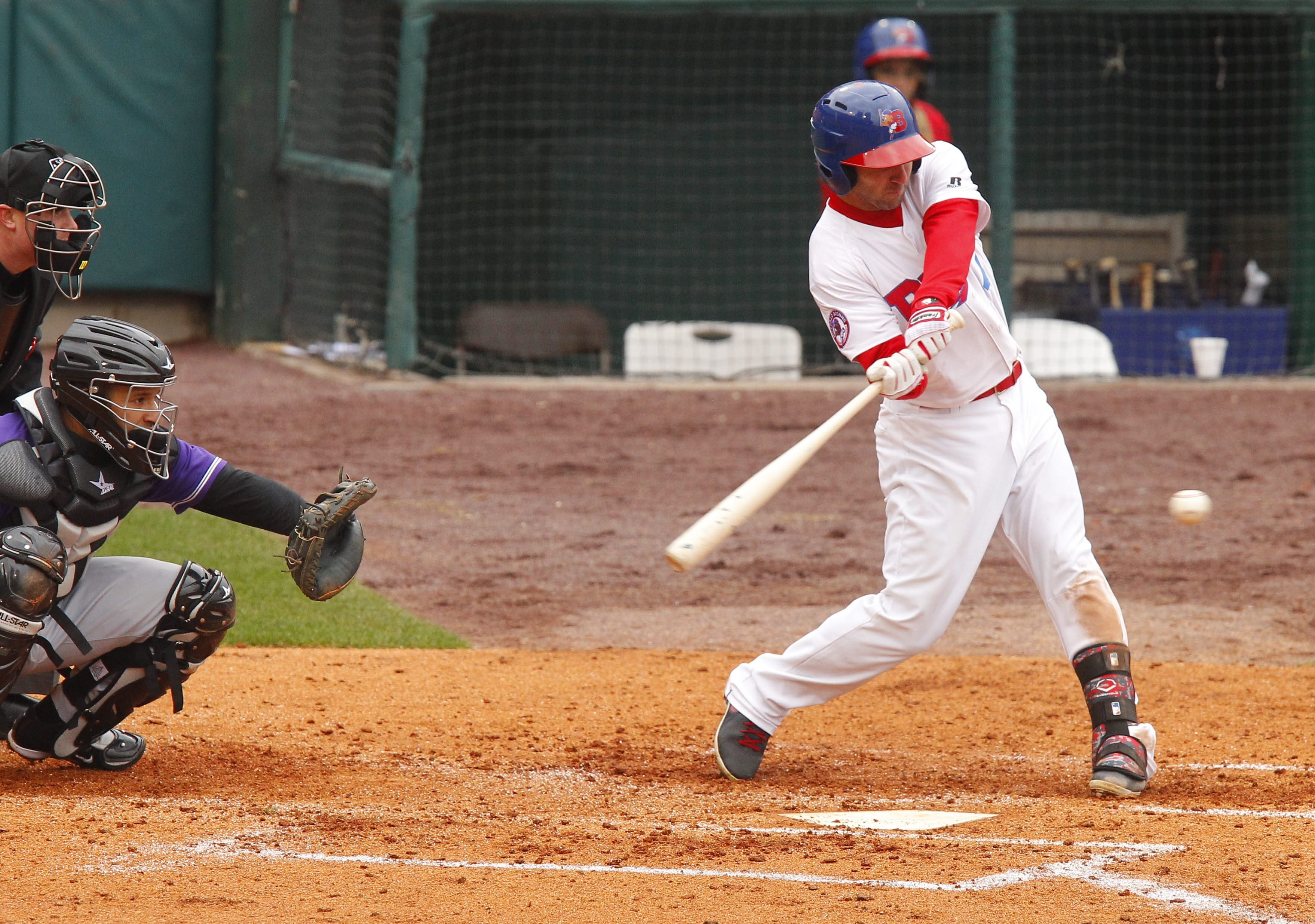 Darin Mastroianni pounds one of his two doubles in Saturday's Bisons victory.