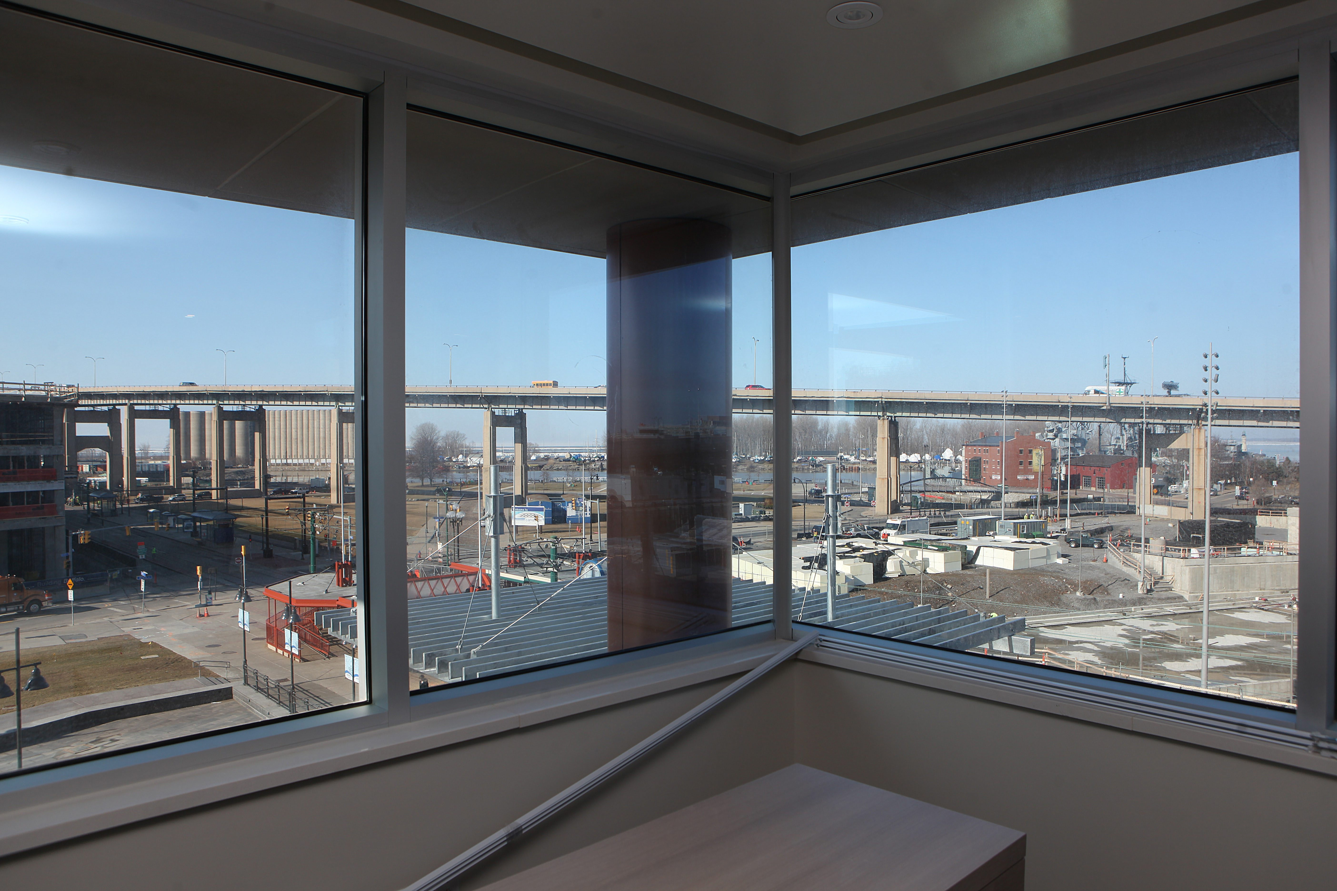 When the new Courtyard by Marriott opens, this corner suite will offer a view of the waterfront. (Charles Lewis/Buffalo News)