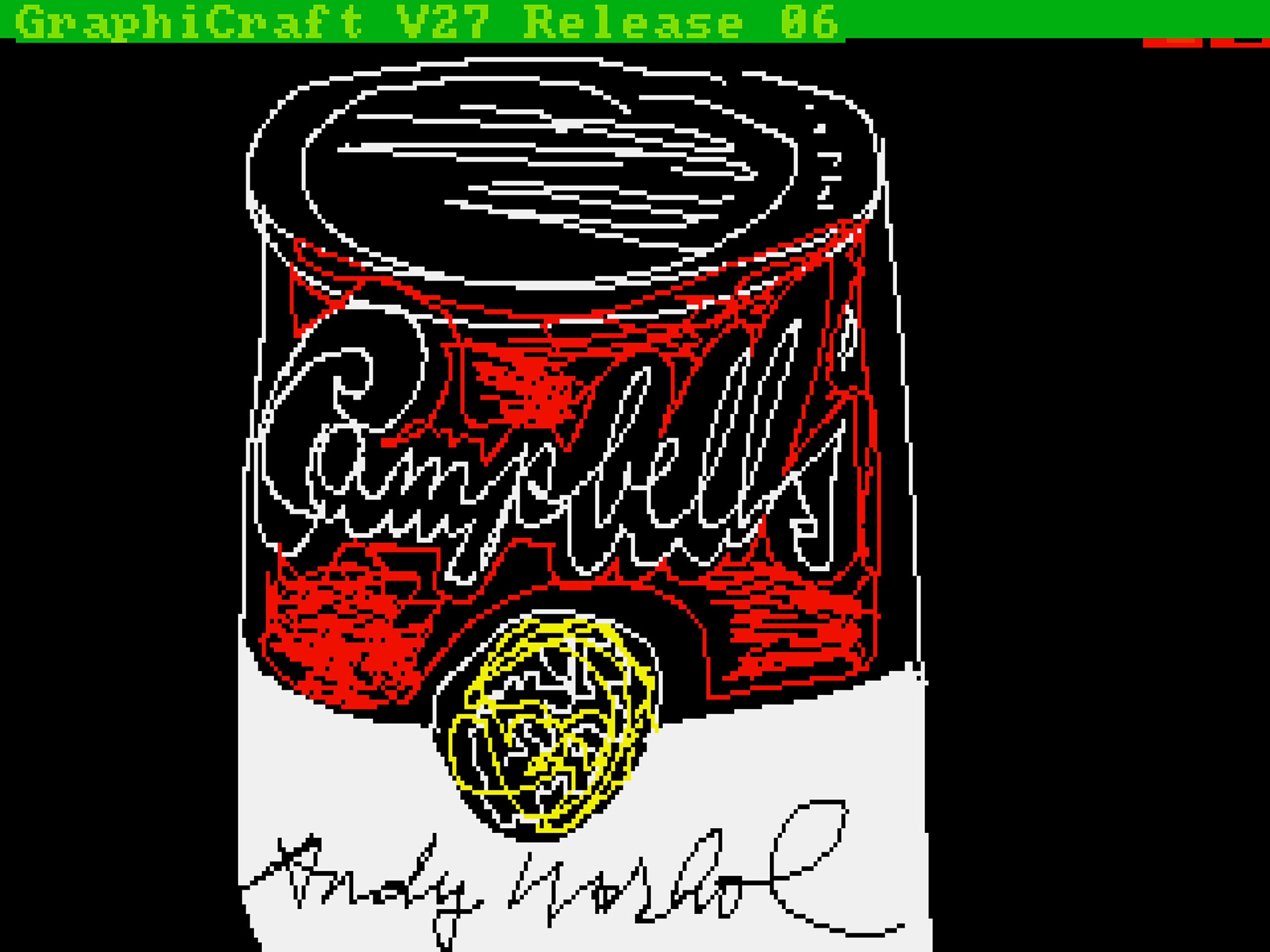 This undated image provided by the Andy Warhol Museum shows a piece apparently made on a computer in 1985.