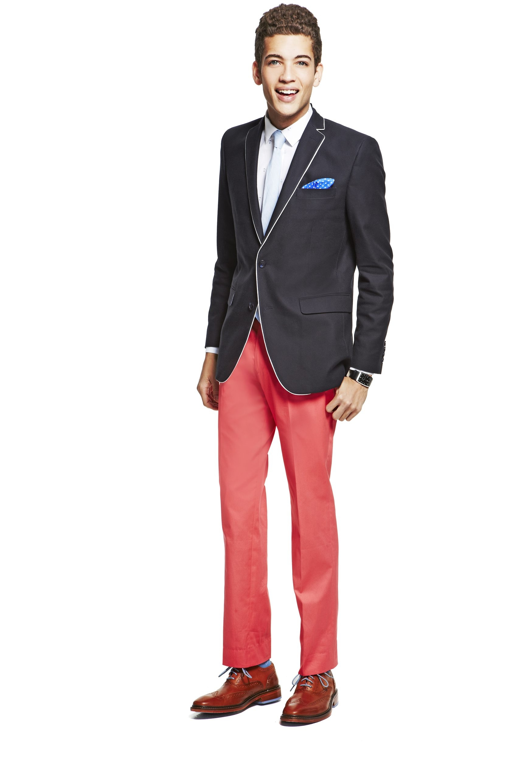 'Statement' sport coats call for sharper pants. This look is from Macy's.