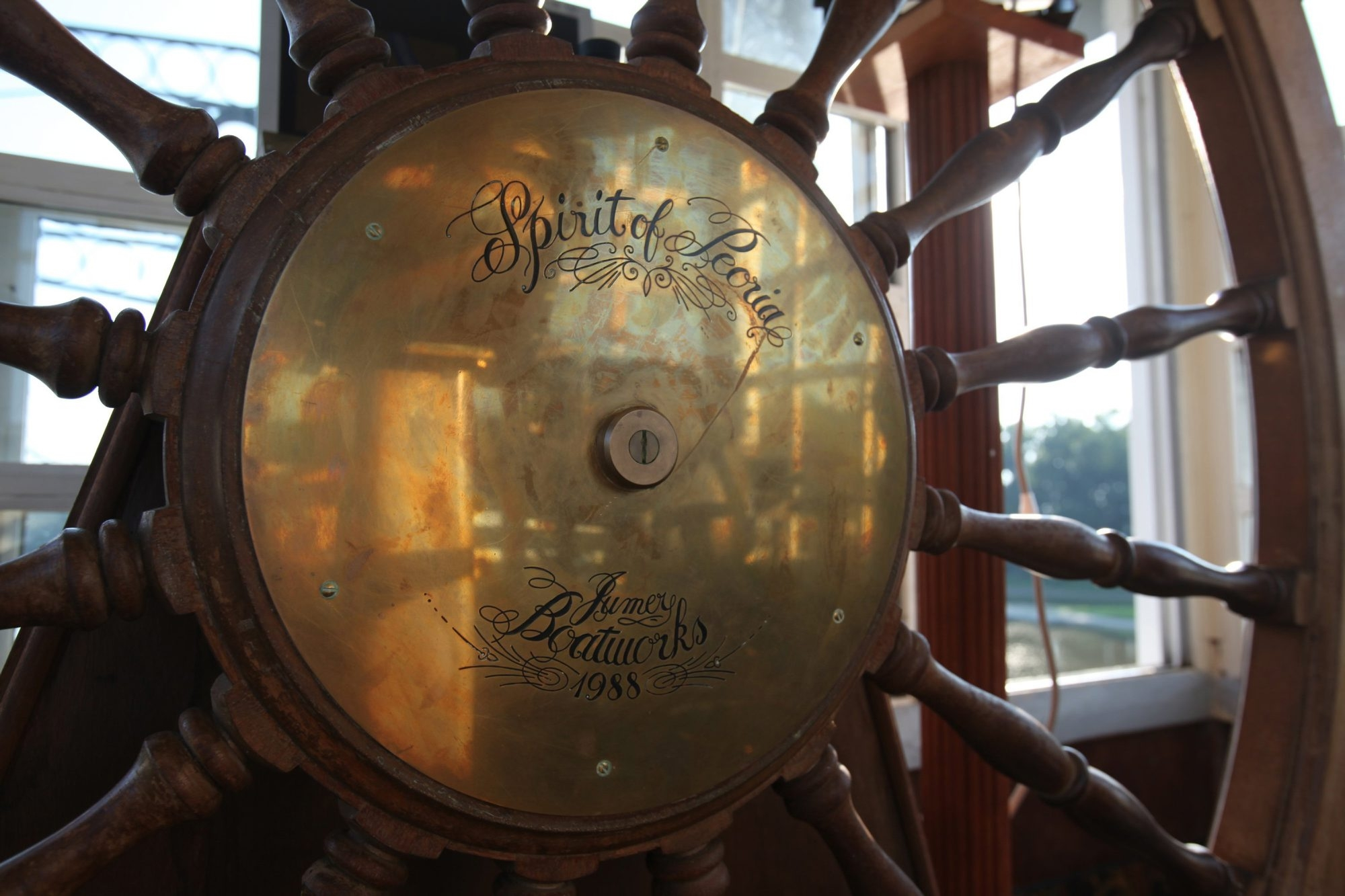 The helm is shown on the Peoria paddlewheel boat as it cruises down the Illinois river. (Josh Noel/Chicago Tribune/MCT)