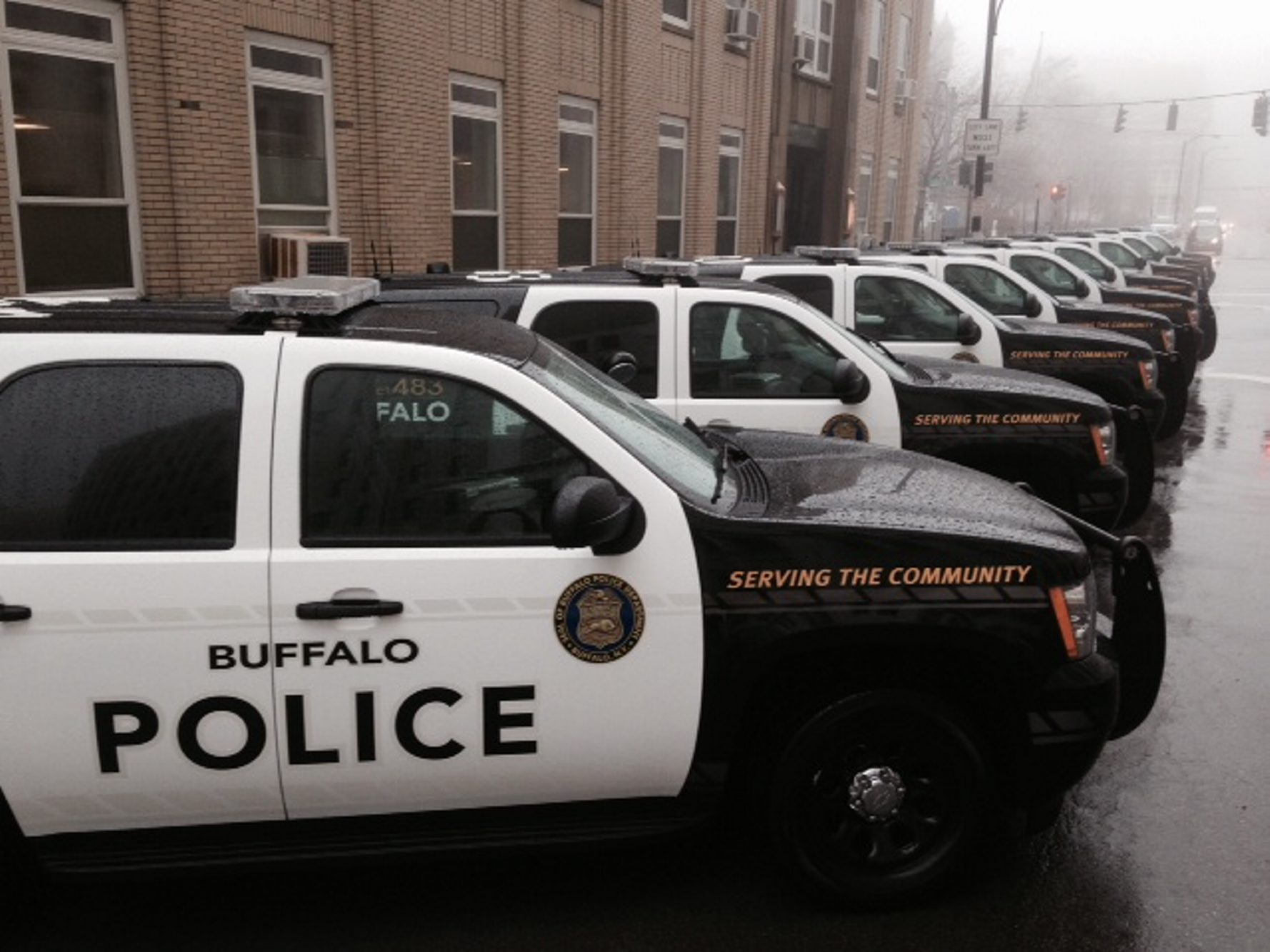 New Chevy Tahoe cruisers lined up outside Buffalo Police headquarters.
