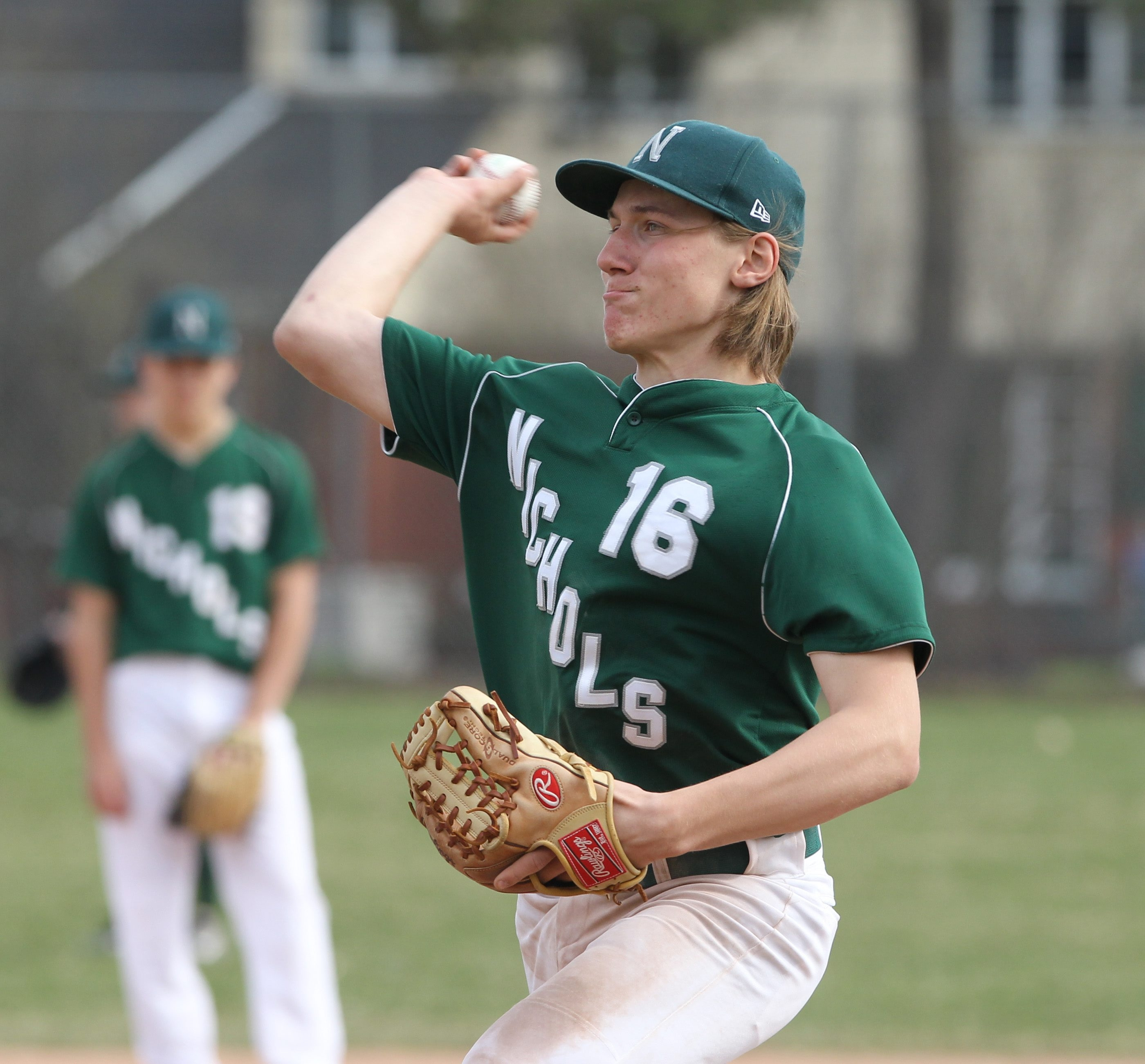 Nichols' Steven Senese fires a pitch during Monday's non-league triumph over host Kenmore West. Visit buffalonews.com to see a photo gallery.