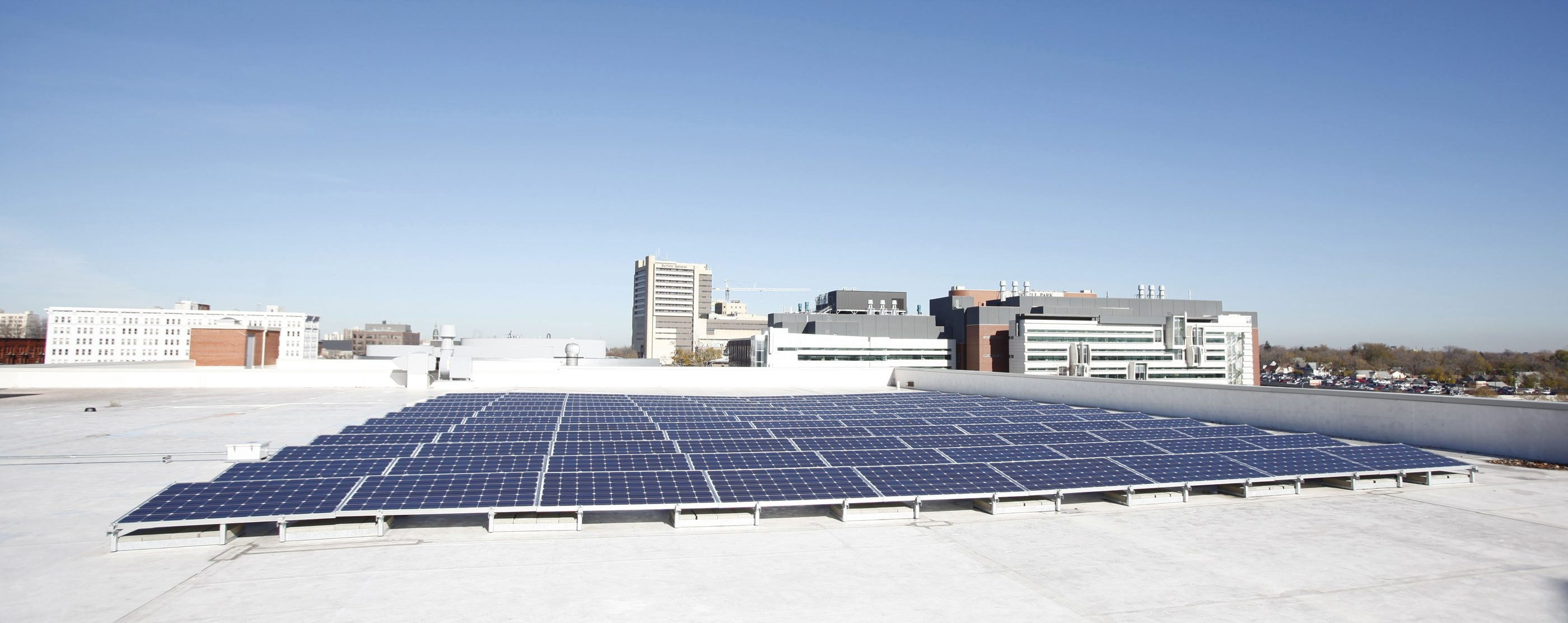 The Buffalo Niagara Medical Campus, which installed solar panels on the roof of the Innovation Center, is a high-tech development project focused on promoting energy efficiency.