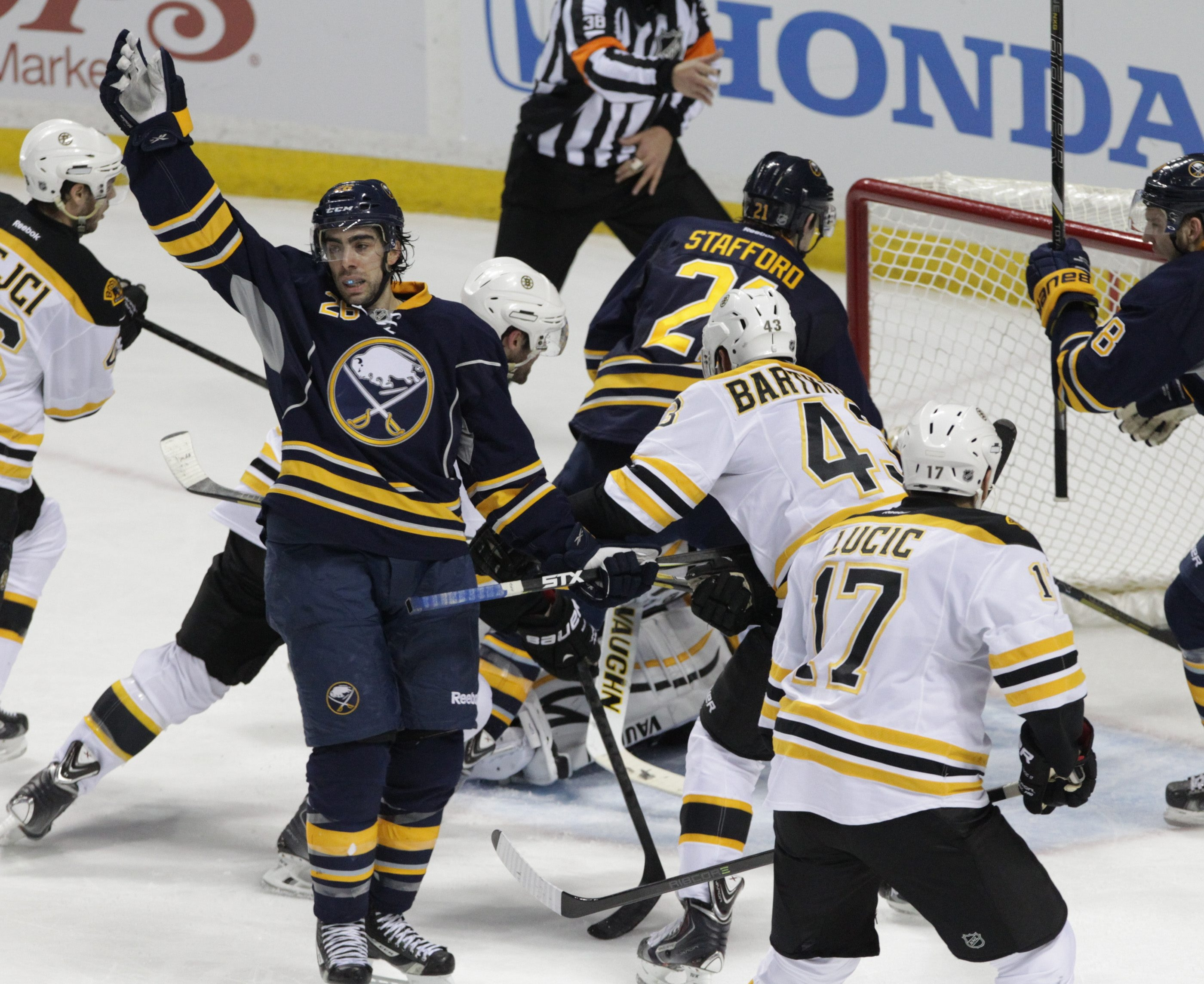 Matt Moulson, left, is a goal-scoring specialist who is no longer with the Sabres. He came in a trade and left in a trade.