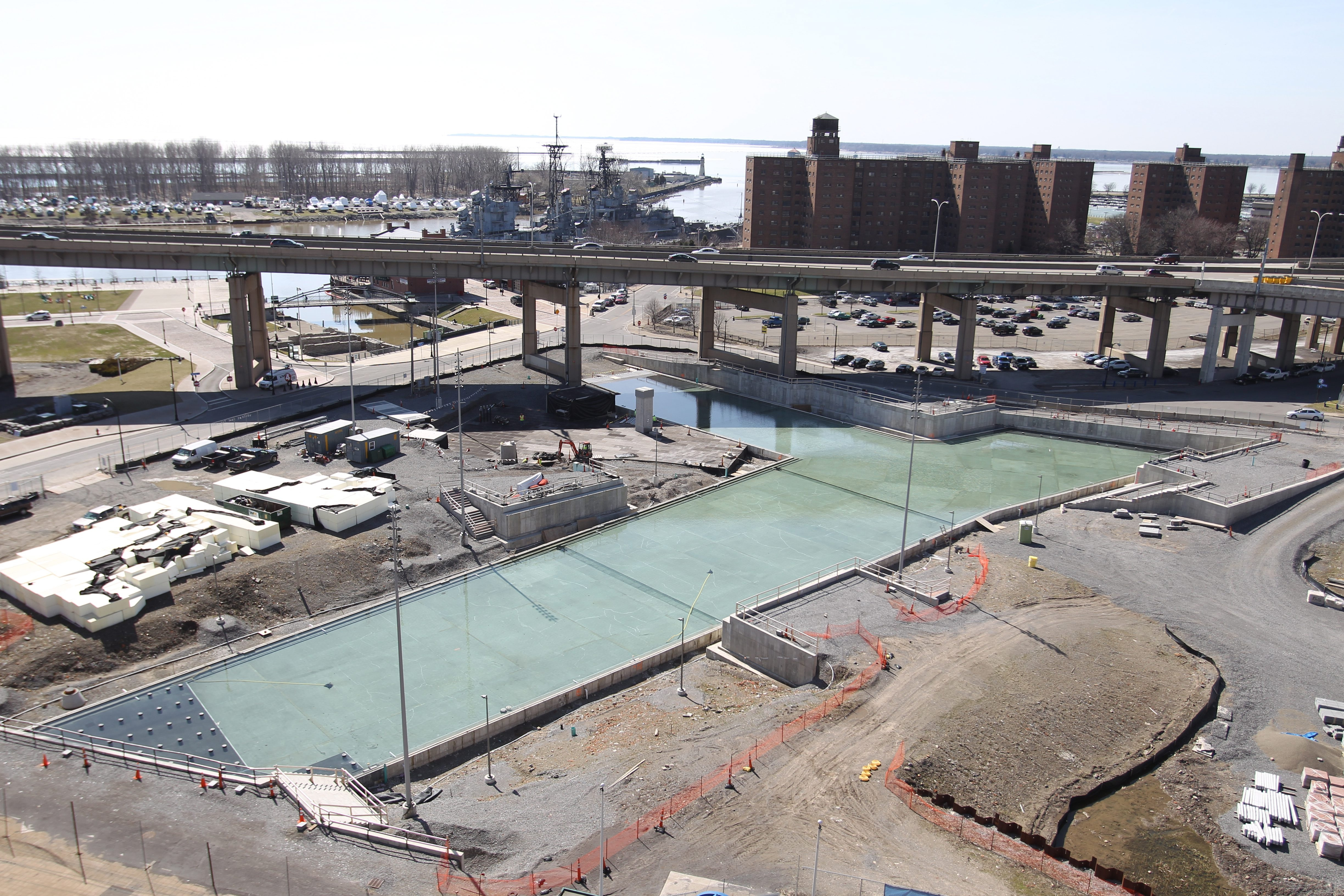 "Water began flowing this week into the ""historically aligned"" canals that will be the center of a water-themed attraction constructed on the acreage where Buffalo Memorial Auditorium once stood."