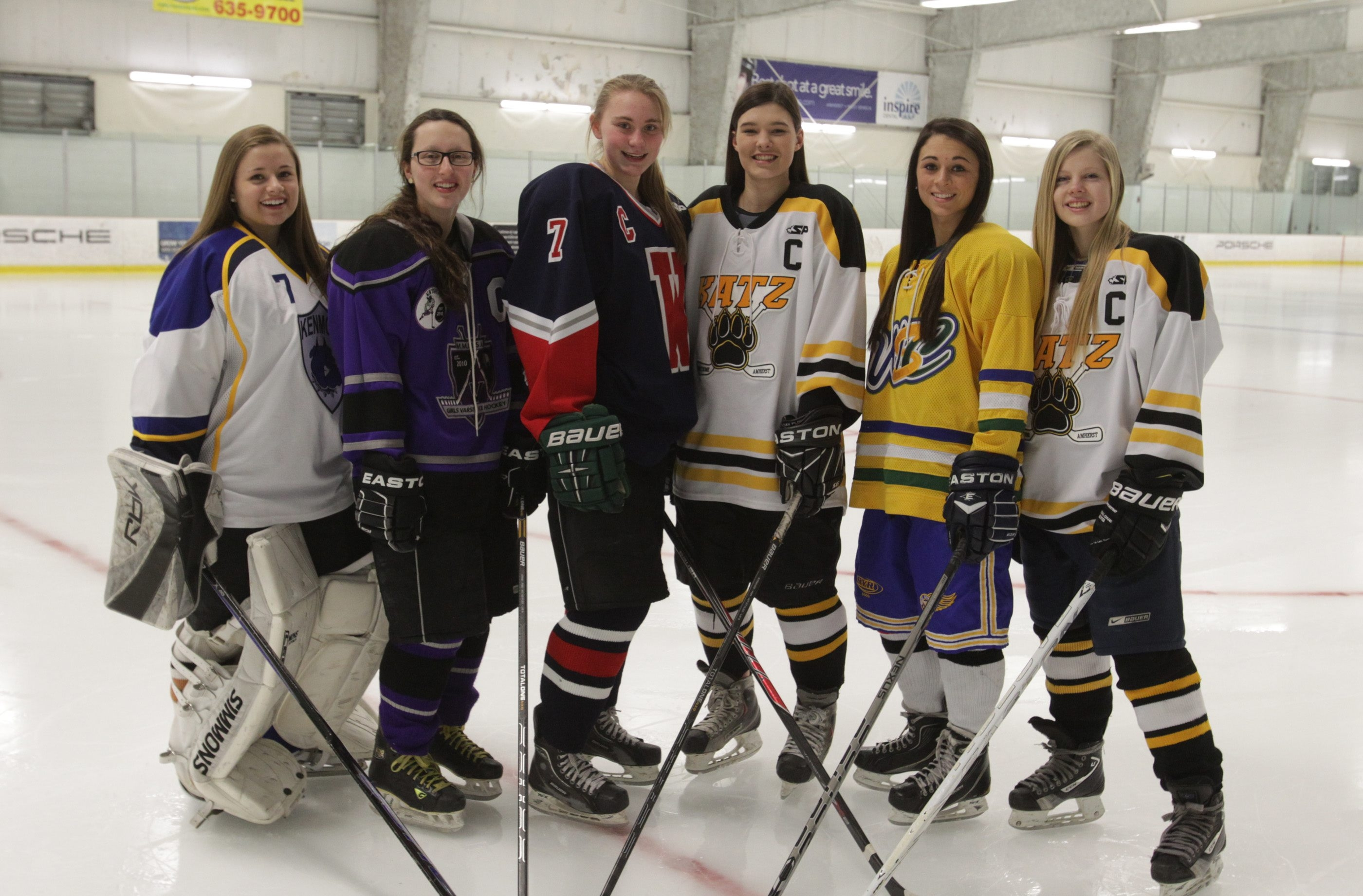 All-WNY: Lauren Pray (Kenmore), Rachel Lenard (Monsignor Martin Association), Rachel Grampp (Williamsville), Maddy Grisko (Amherst/Sweet Home), Erin Gehen (West Seneca), Missy Mallon (Amherst/Sweet Home).