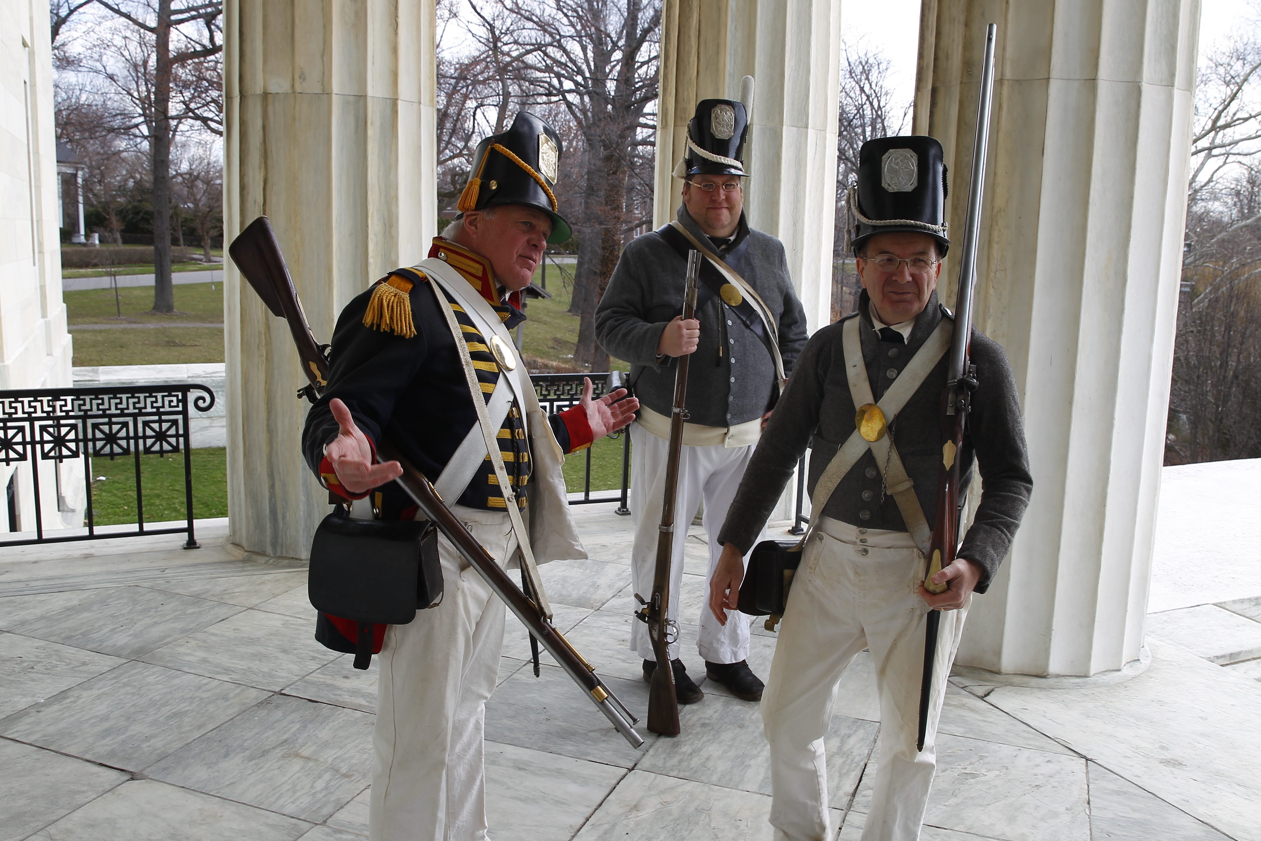 From left, War of 1812 re-enactors Alan Eimiller, Scoot Frank and Guy Rizzutto, all in period clothing, were  on hand Wednesday for the announcement launching the third year of War of 1812 bicentennial events.