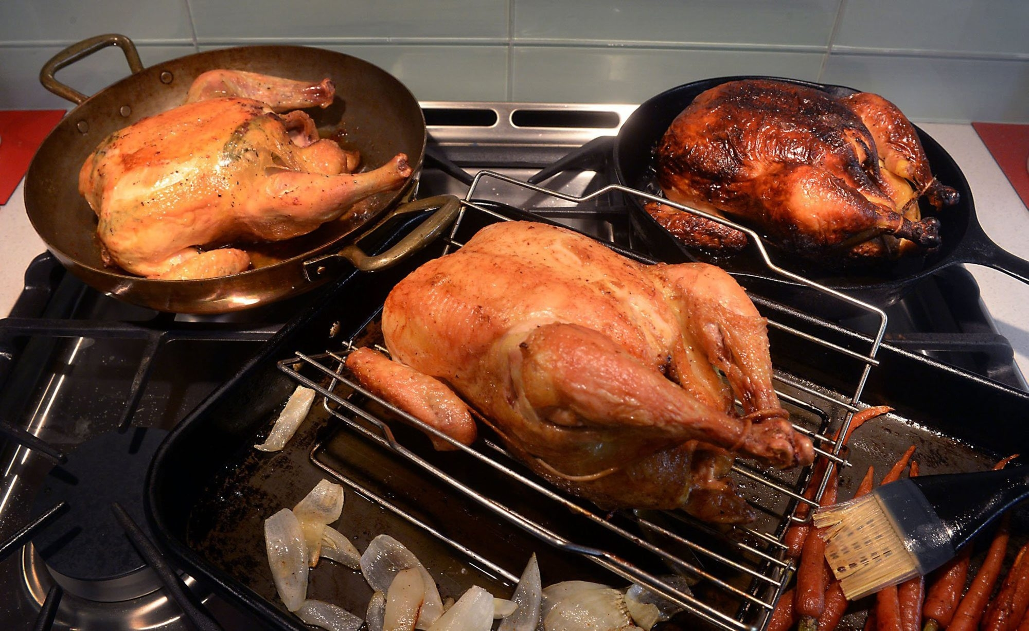 They say you can judge a cook based on just one dish – roast chicken. It's the simplest thing, the little black dress, appropriate for any occasion, easy to dress it up or dress it down. Here, roast chicken recipes adapted from three famous cooks.