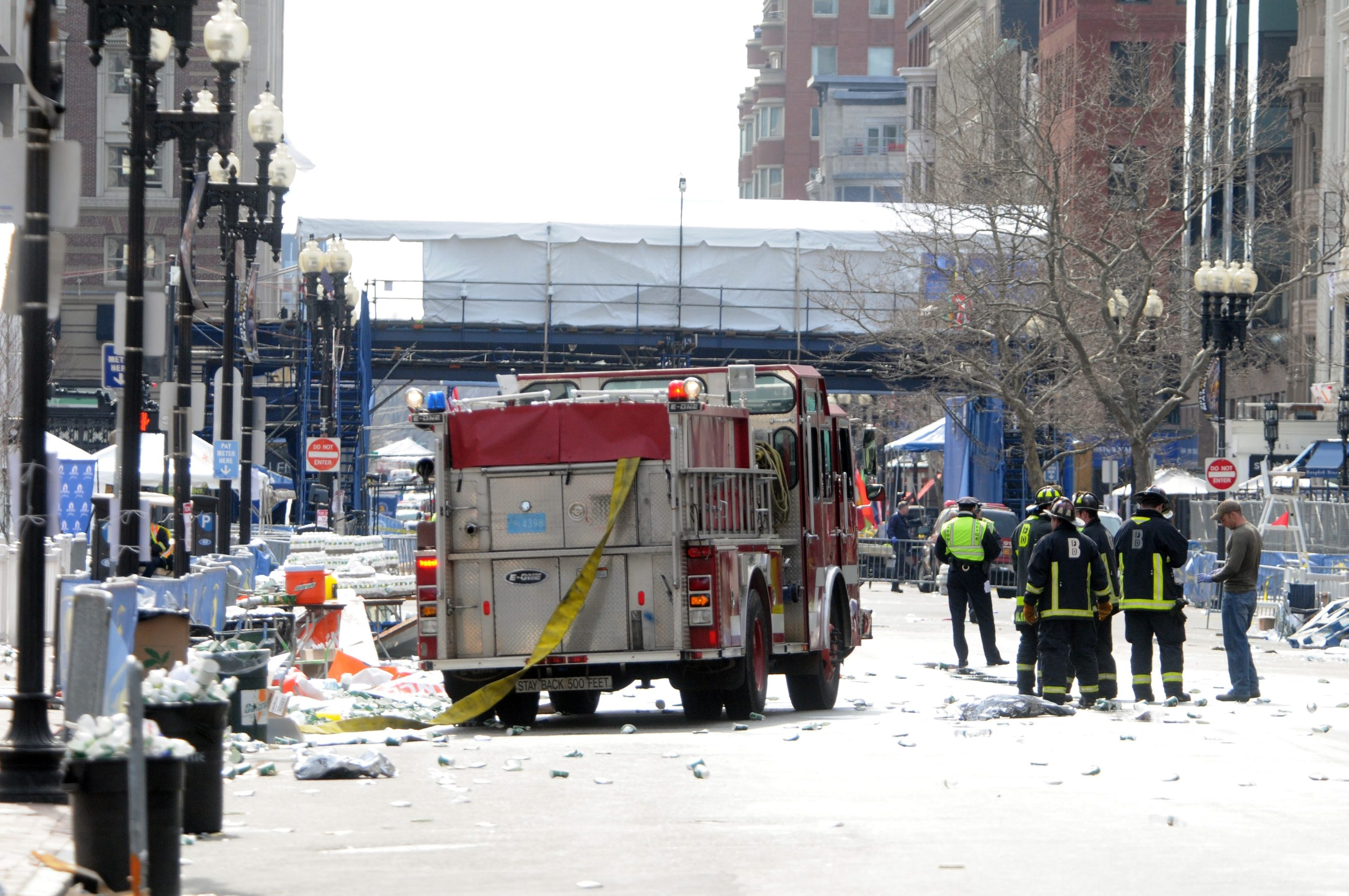 Firefighters were on duty on Boylston Street, near the finish line, after two bombs exploded during last April's Boston Marathon.