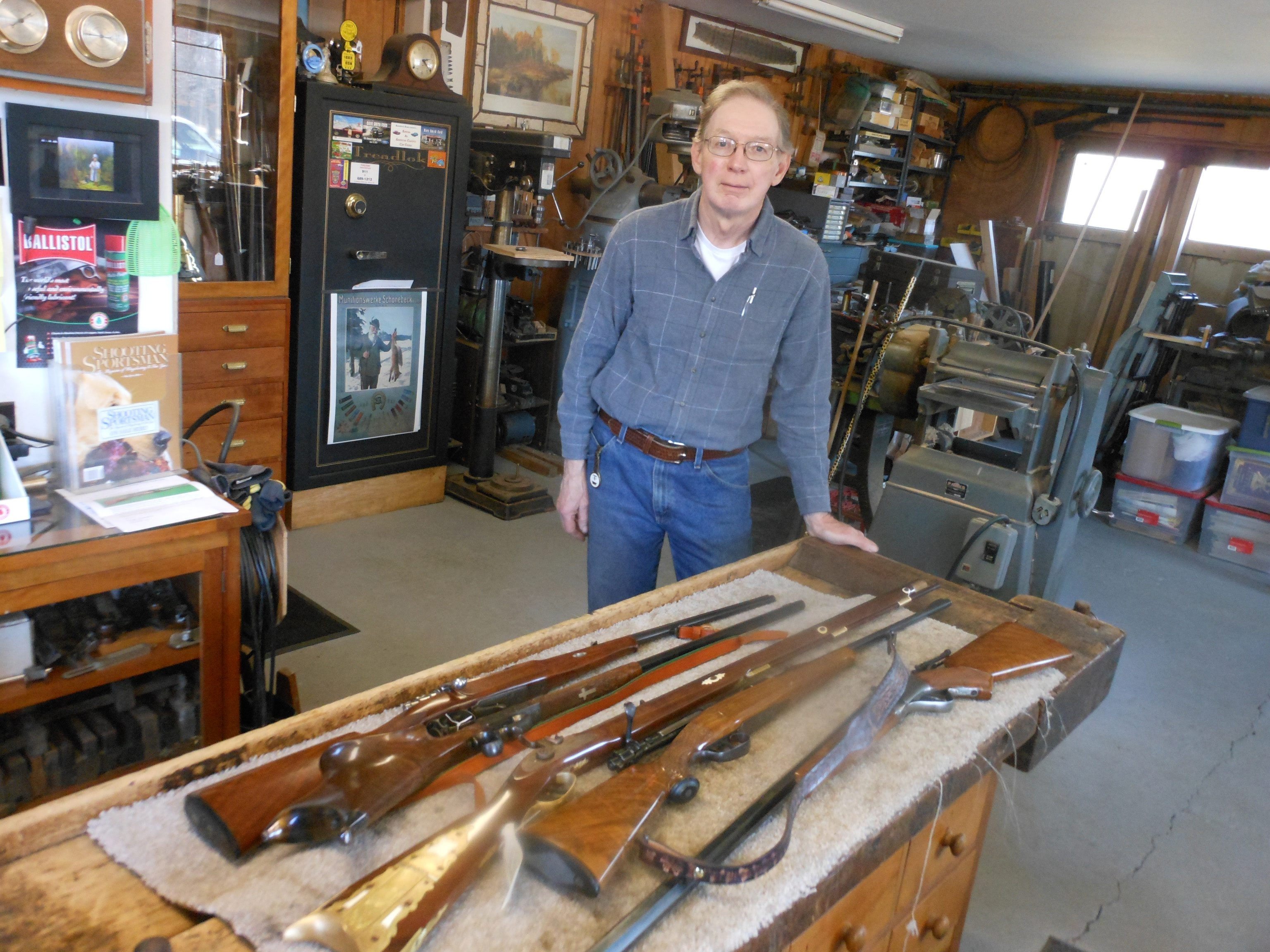 Larry Schuknecht of Clarence has gained national and international prominence as a skilled designer and restorer of gun stocks.