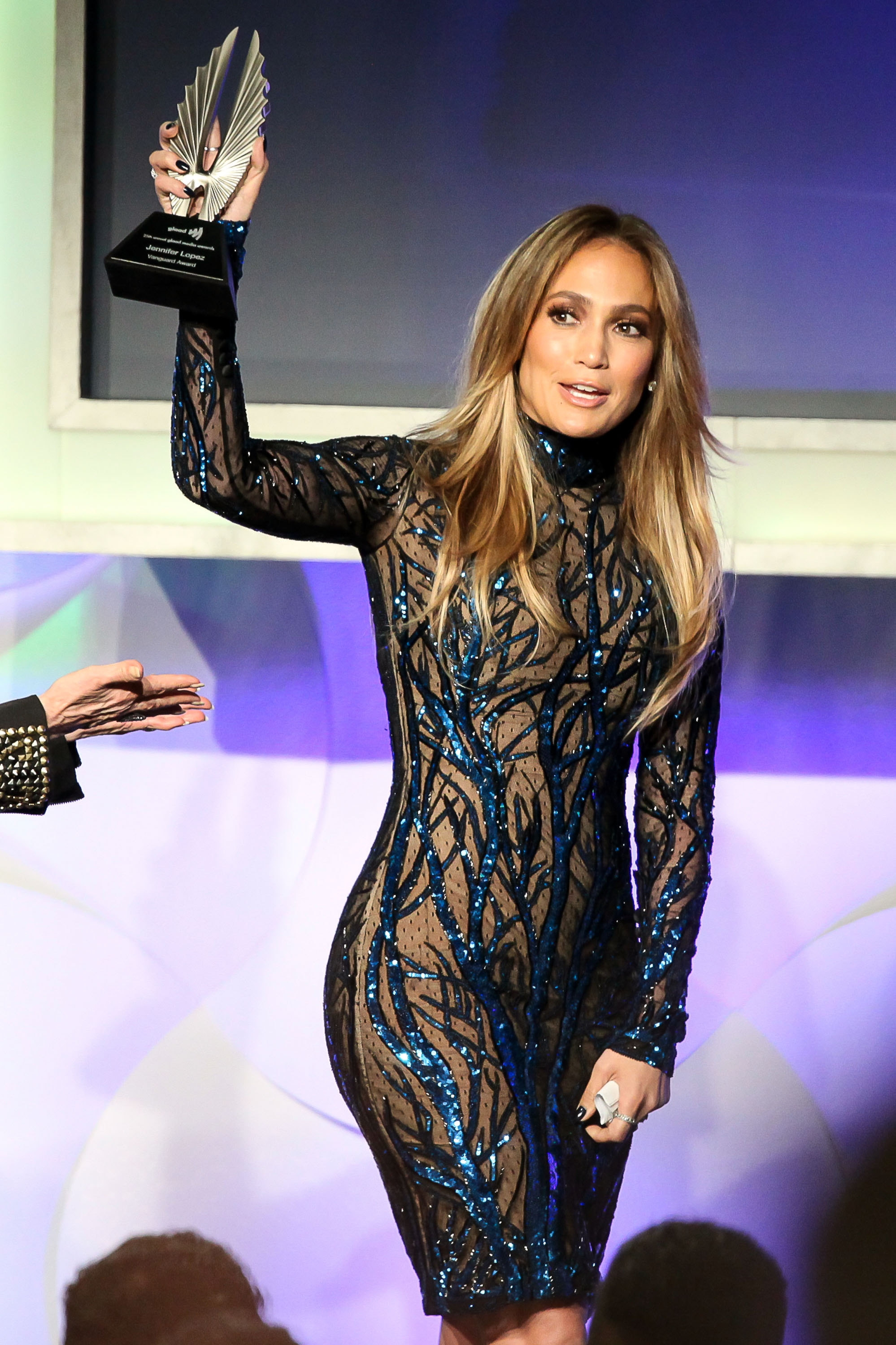 "Jennifer Lopez was honored with the Vanguard Award for her work on the ABC Family series ""The Fosters"" at the GLAAD Media Awards on Saturday in Los Angeles."