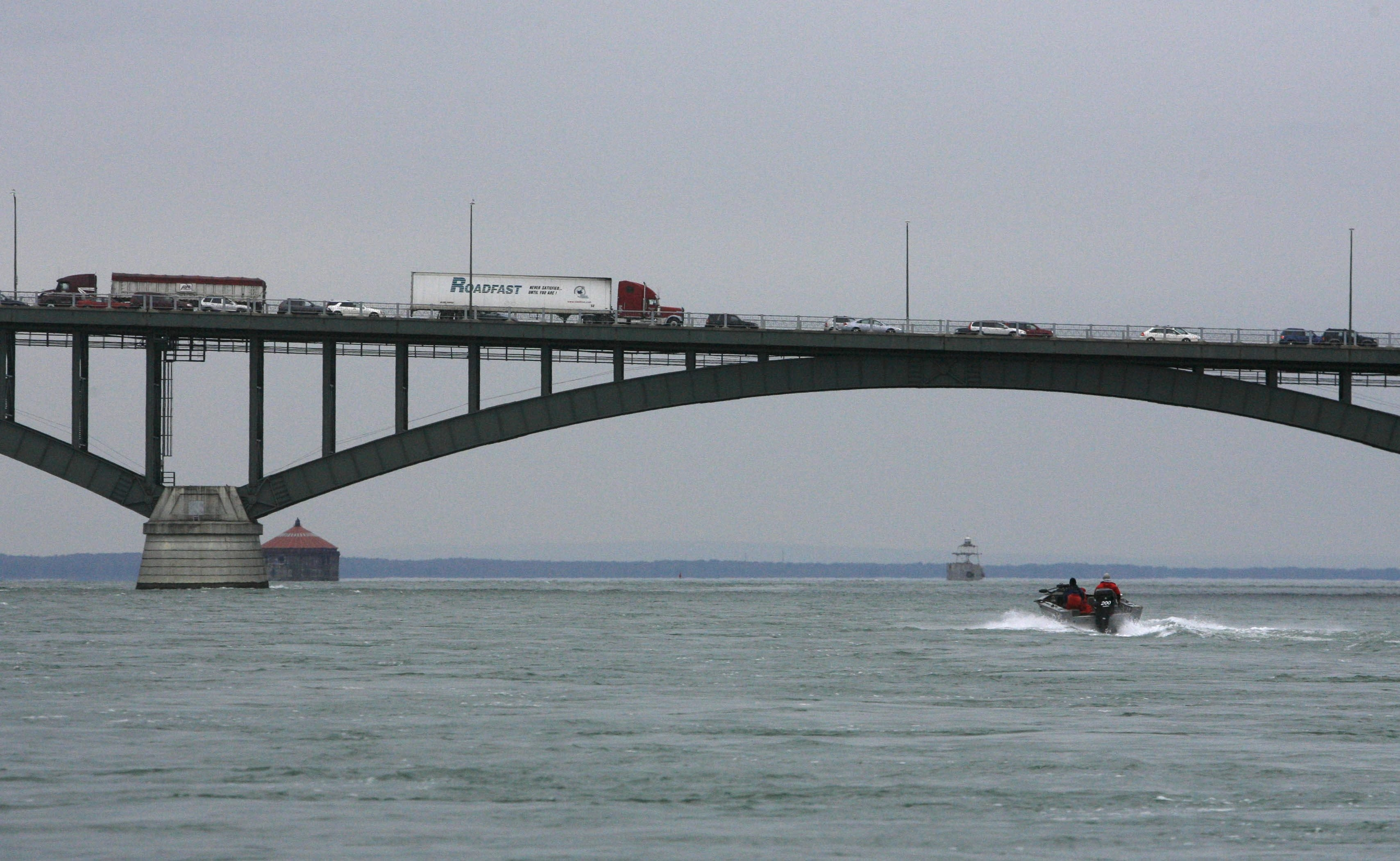 Traffic often backs up on the Peace Bridge on holidays, as it did on Oct. 12, 2009, a chilly Columbus Day and Canadian Thanksgiving.