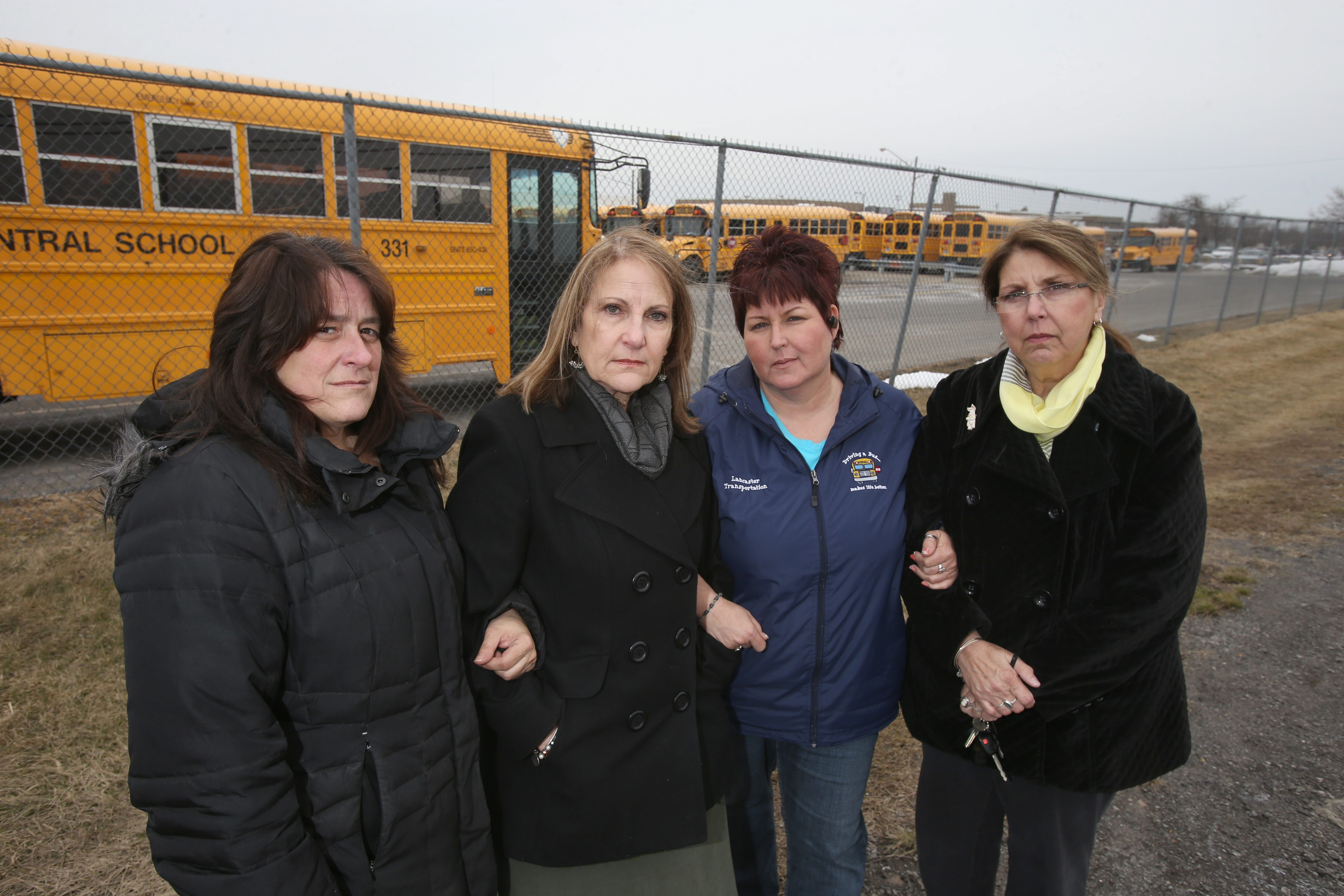 Lancaster Central School District workers Gina Scaglione, left, Mary Refermat, Mary Juliano and Deborah Bak have filed complaints against Robert W. Mowry.